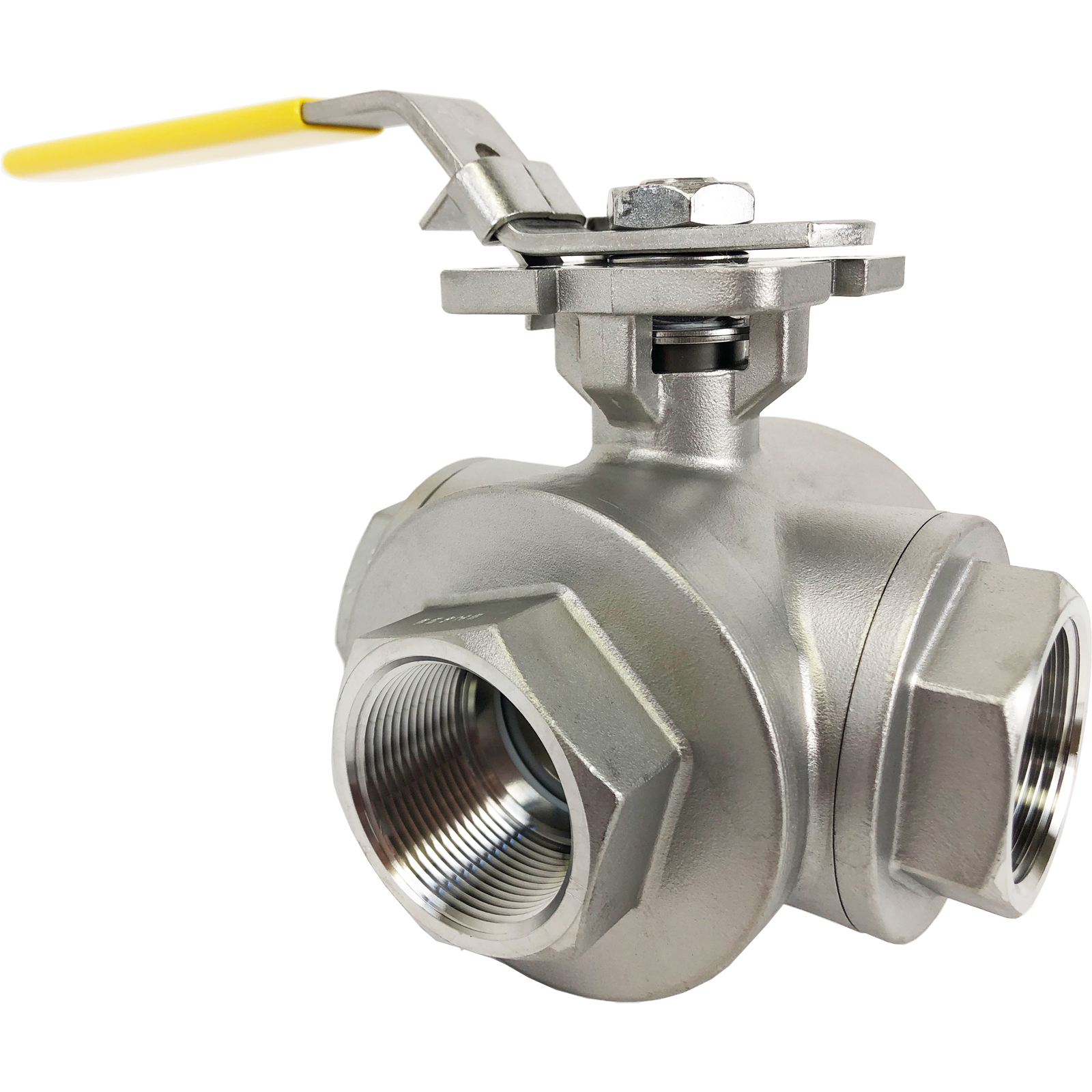 """1-1/2"""" Stainless 3-Way Ball Valve, T-Port, Direct Mount"""