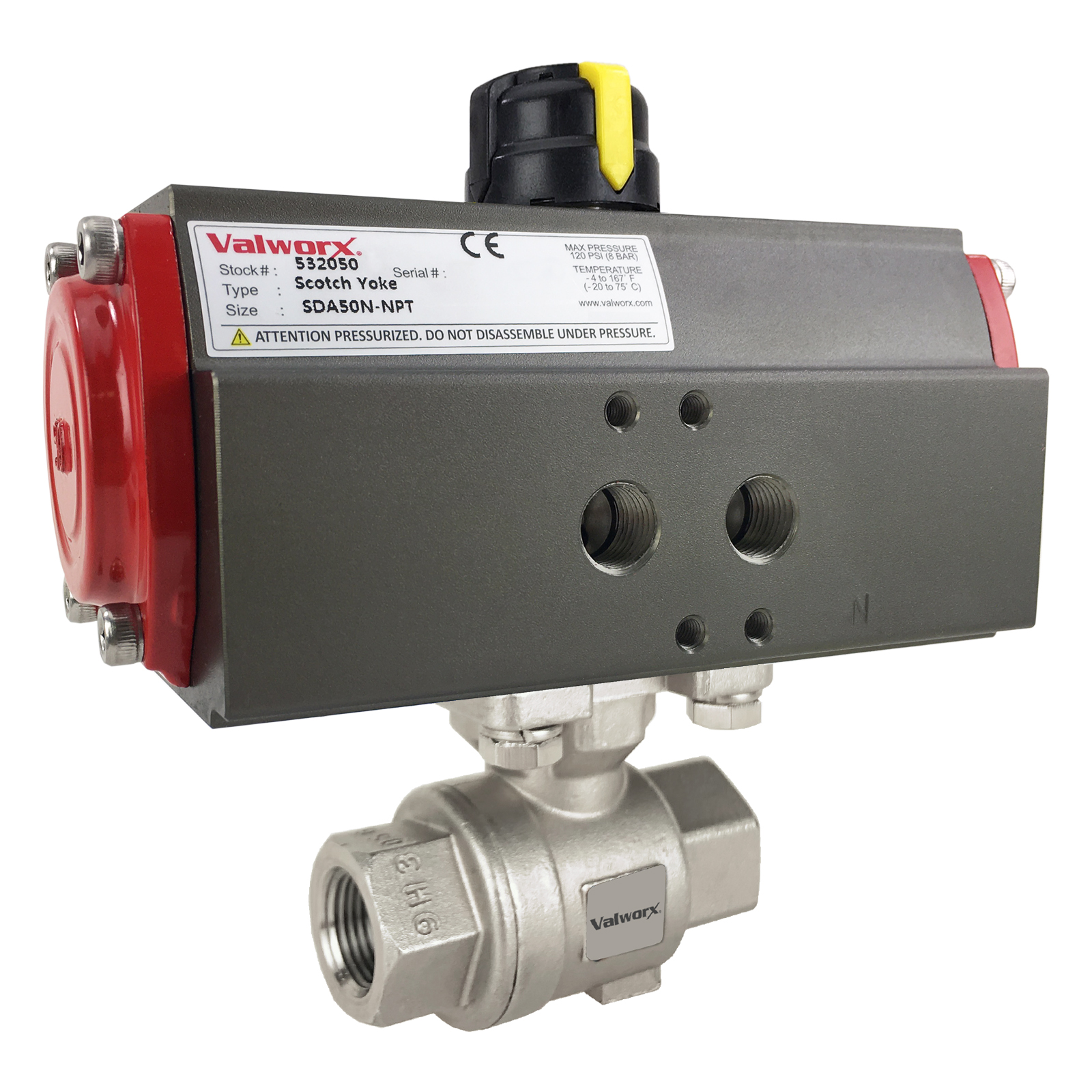"""3/8"""" Air Actuated Stainless Ball Valve - Double Acting Scotch Yoke"""