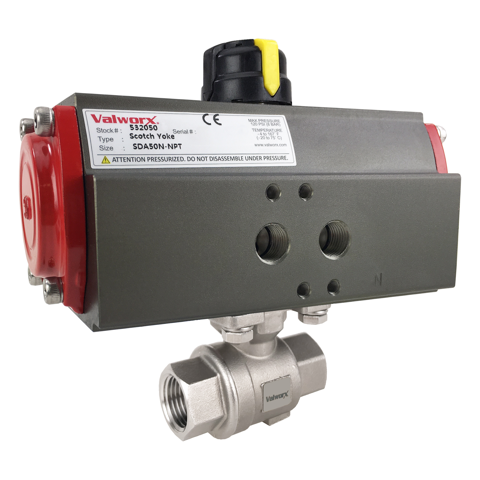 """1/2"""" Air Actuated Stainless Ball Valve - Double Acting Scotch Yoke"""