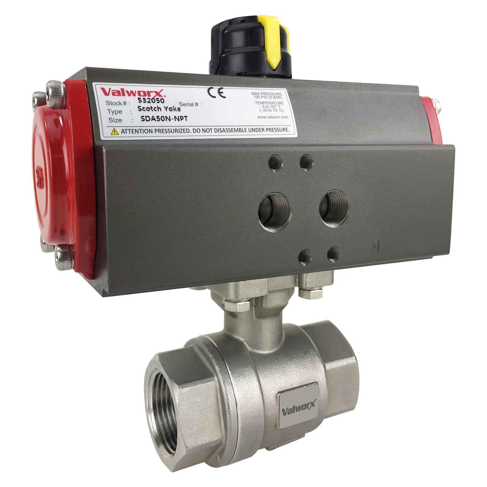 """1"""" Air Actuated Stainless Ball Valve - Double Acting Scotch Yoke"""