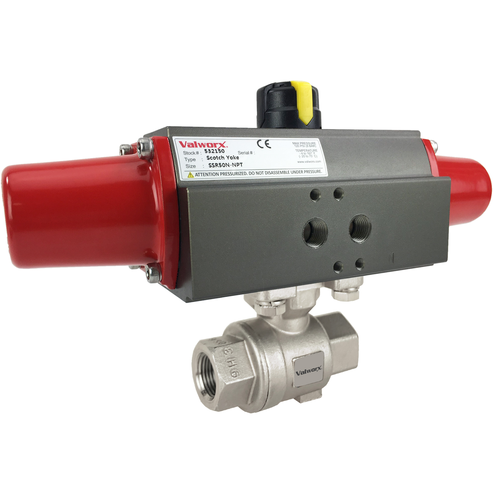 """3/8"""" Air Actuated Stainless Ball Valve - Spring Return Scotch Yoke"""