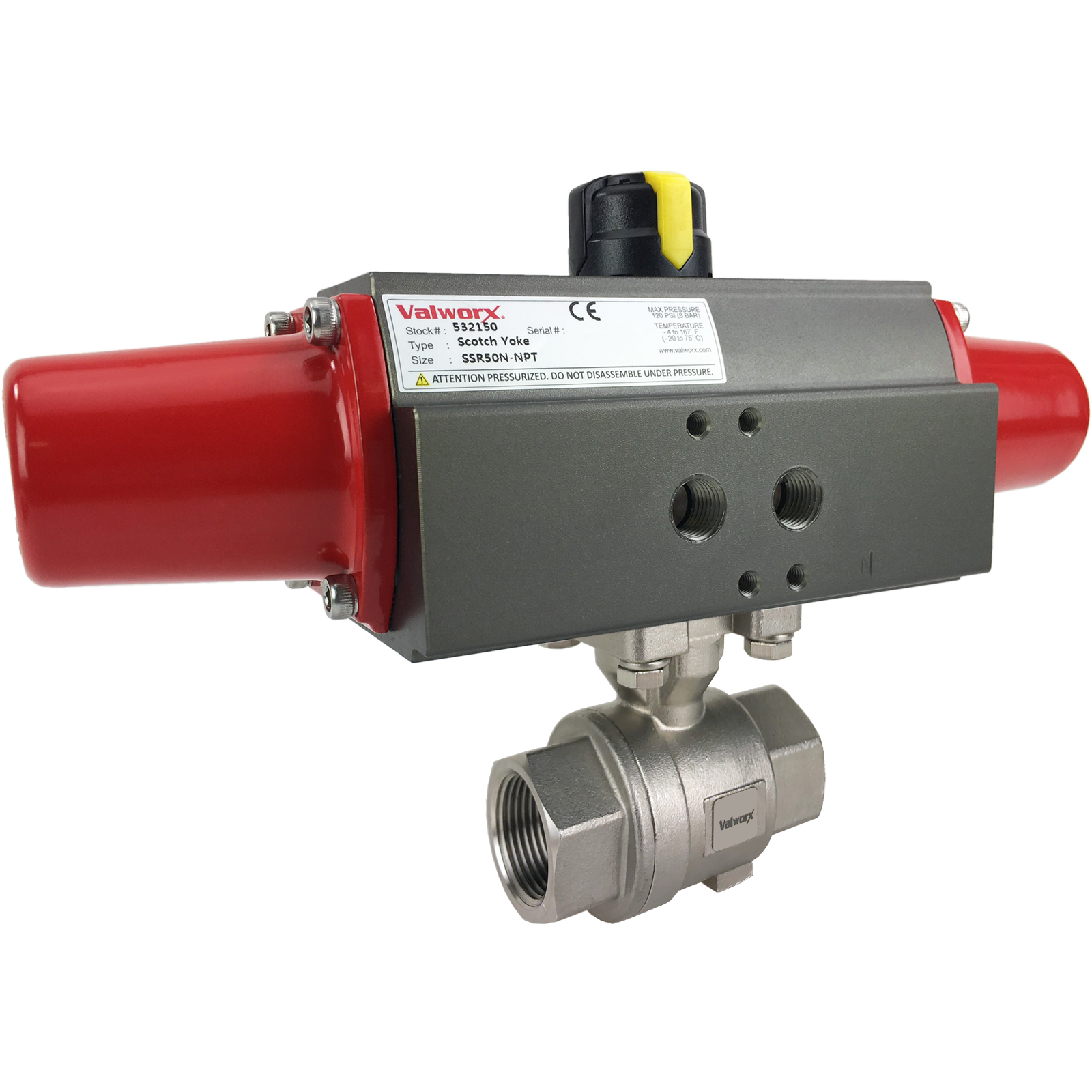"""3/4"""" Air Actuated Stainless Ball Valve - Spring Return Scotch Yoke"""