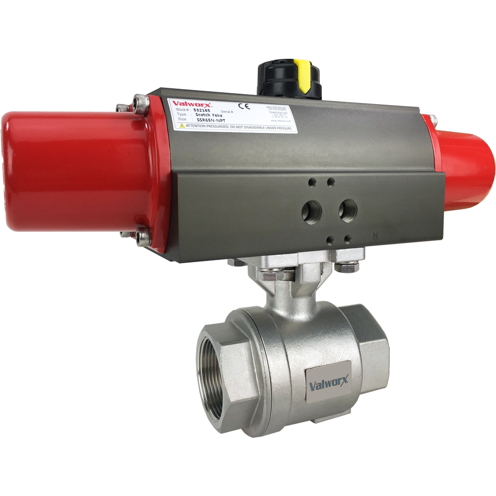 """1 1/2"""" Air Actuated Stainless Ball Valve - Spring Return Scotch Yoke"""