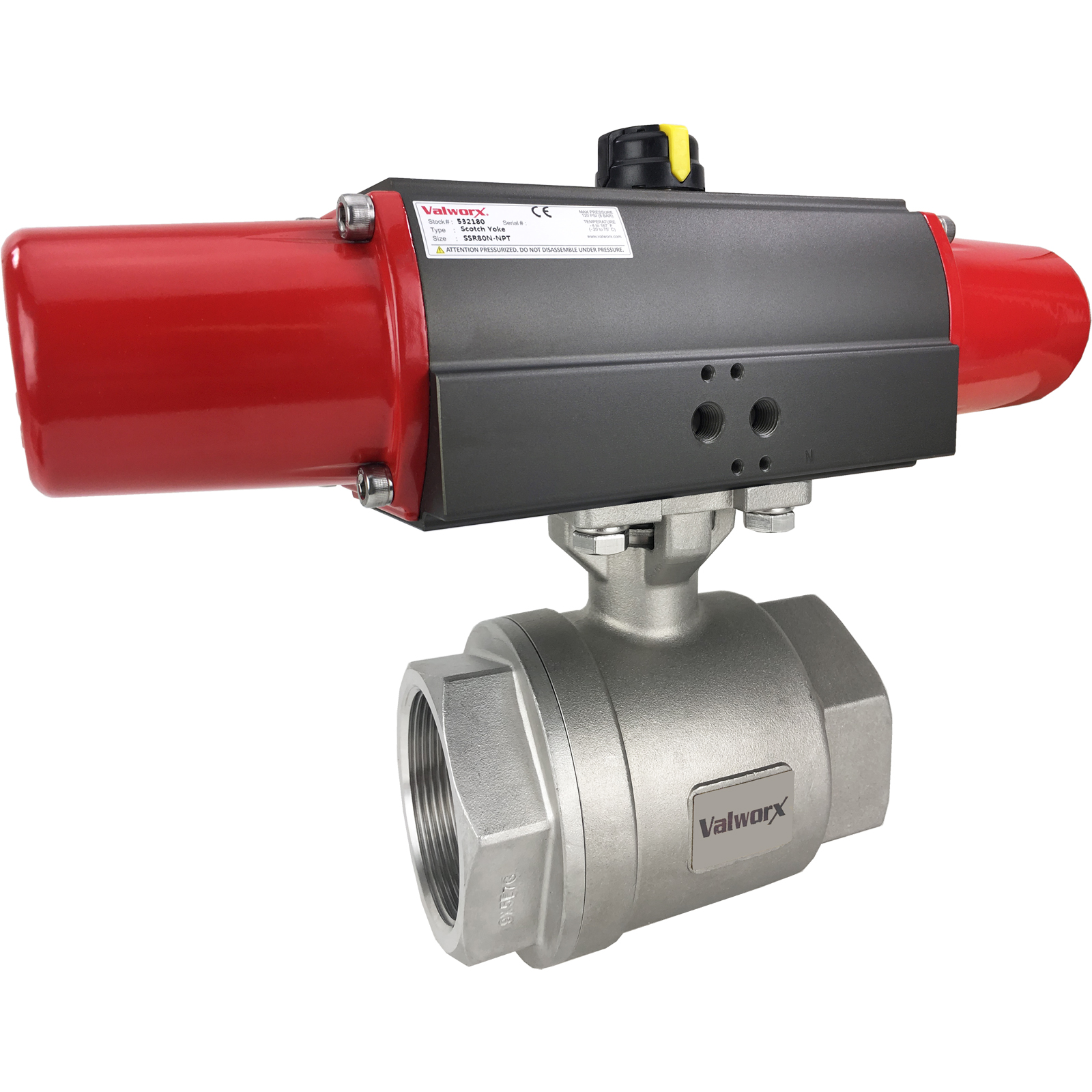 """2"""" Air Actuated Stainless Ball Valve - Spring Return Scotch Yoke"""