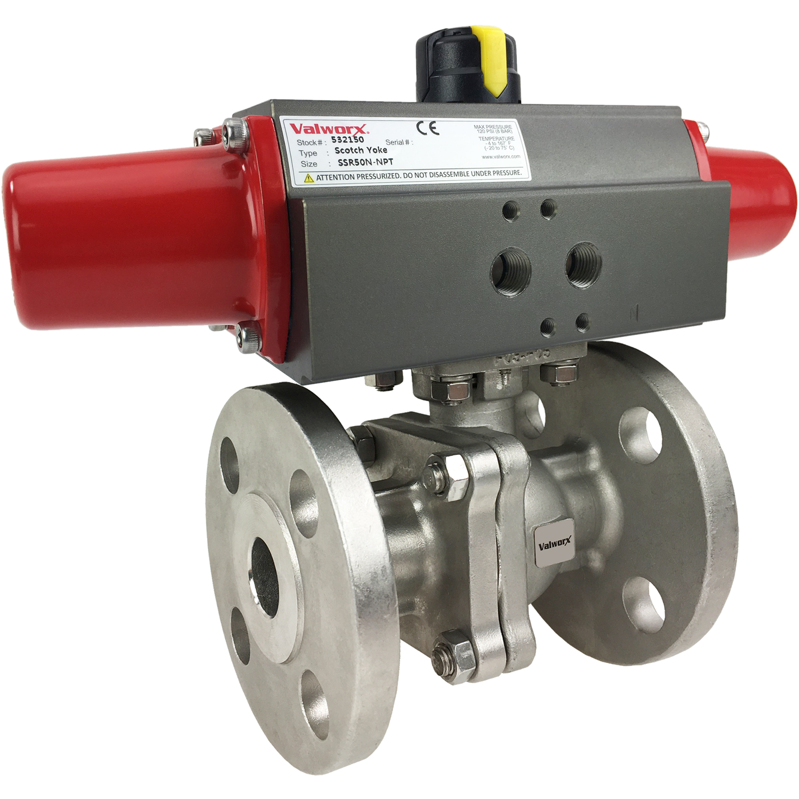 "3/4"" Air Actuated 150# Flanged SS Ball Valve - Spring Return Scotch Yoke"