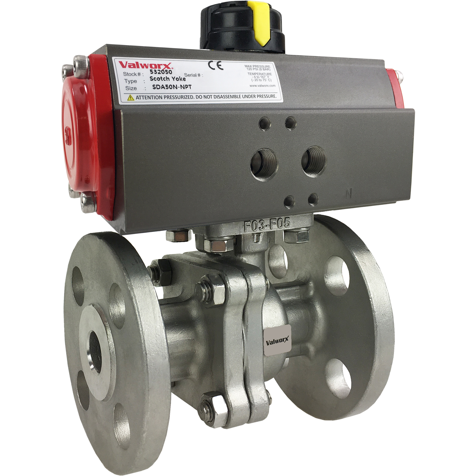 """1/2"""" Air Actuated 150# Flanged SS Ball Valve - Double Acting Scotch Yoke"""