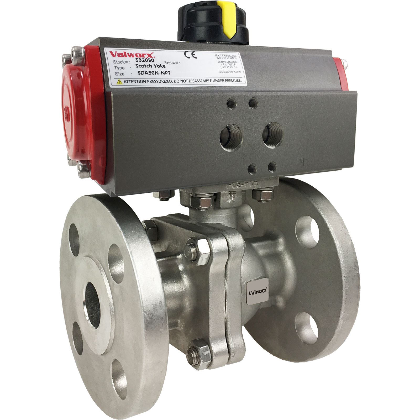 """3/4"""" Air Actuated 150# Flanged SS Ball Valve - Double Acting Scotch Yoke"""