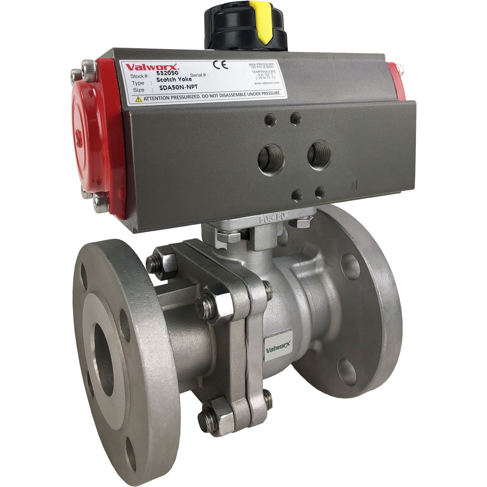 """1"""" Air Actuated 150# Flanged SS Ball Valve - Double Acting Scotch Yoke"""