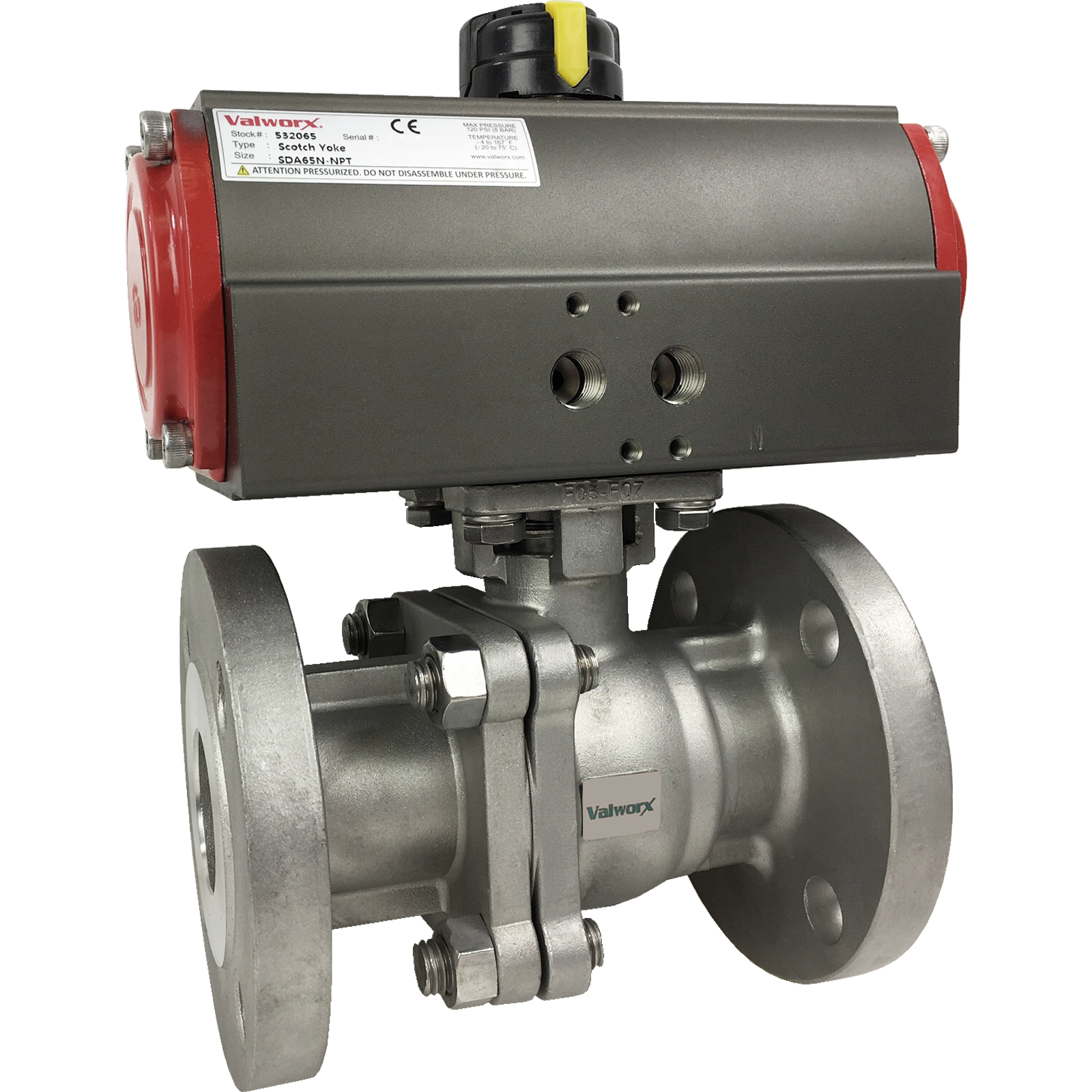 """1 1/2"""" Air Actuated 150# Flanged SS Ball Valve - Double Acting Scotch Yoke"""