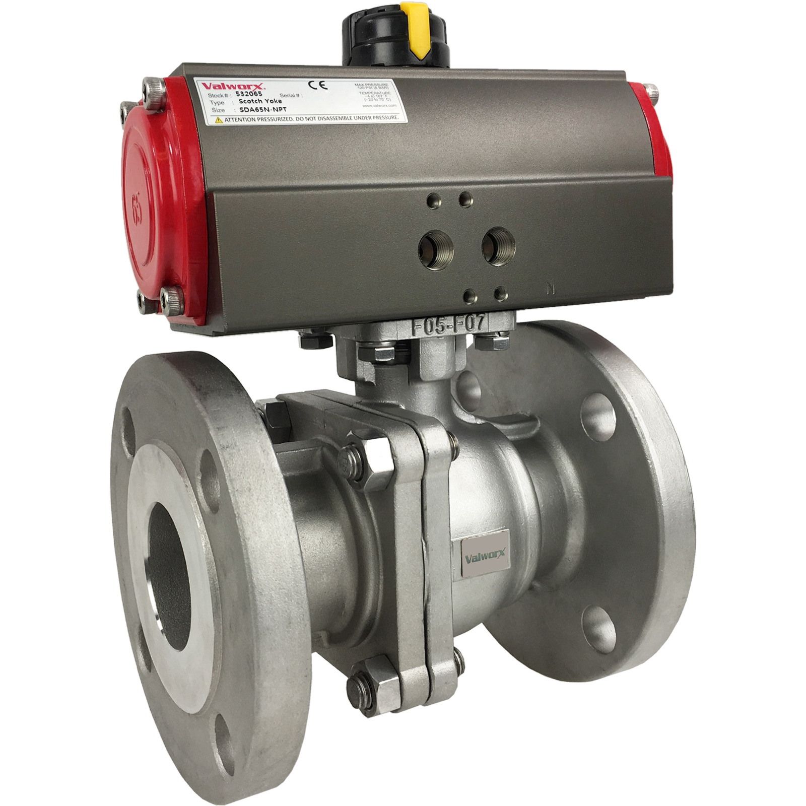 """2"""" Air Actuated 150# Flanged SS Ball Valve - Double Acting Scotch Yoke"""