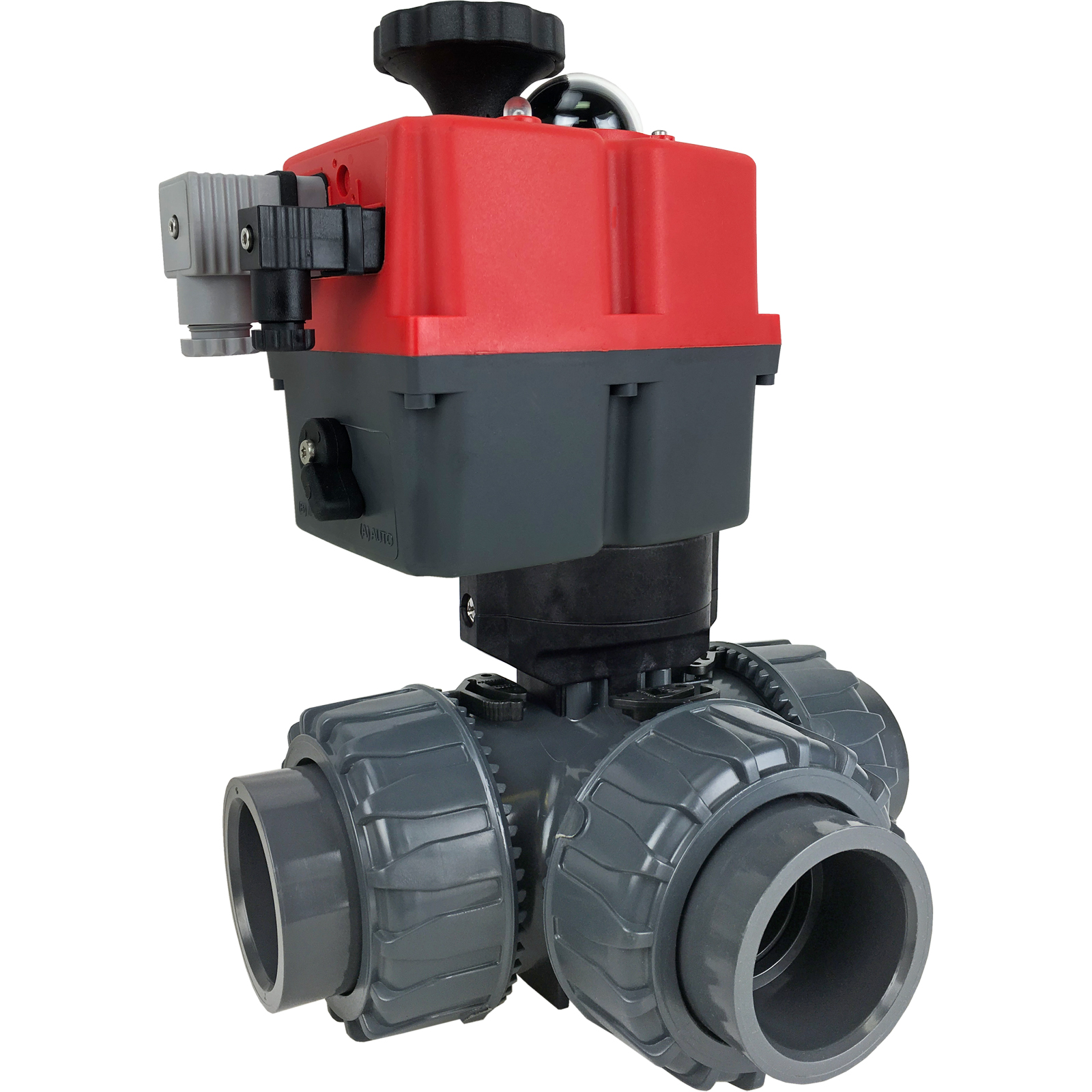 "2"" Electric 3-way L-Port PVC Ball Valve PTFE/EPDM, 24-240V AC/DC"