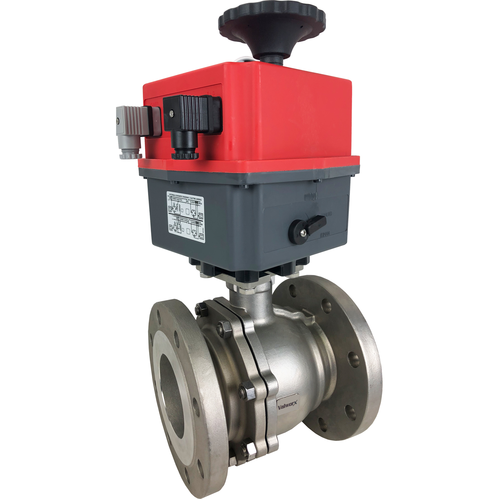 """4"""" Electric 150# Flanged SS Ball Valve, 24-240V"""