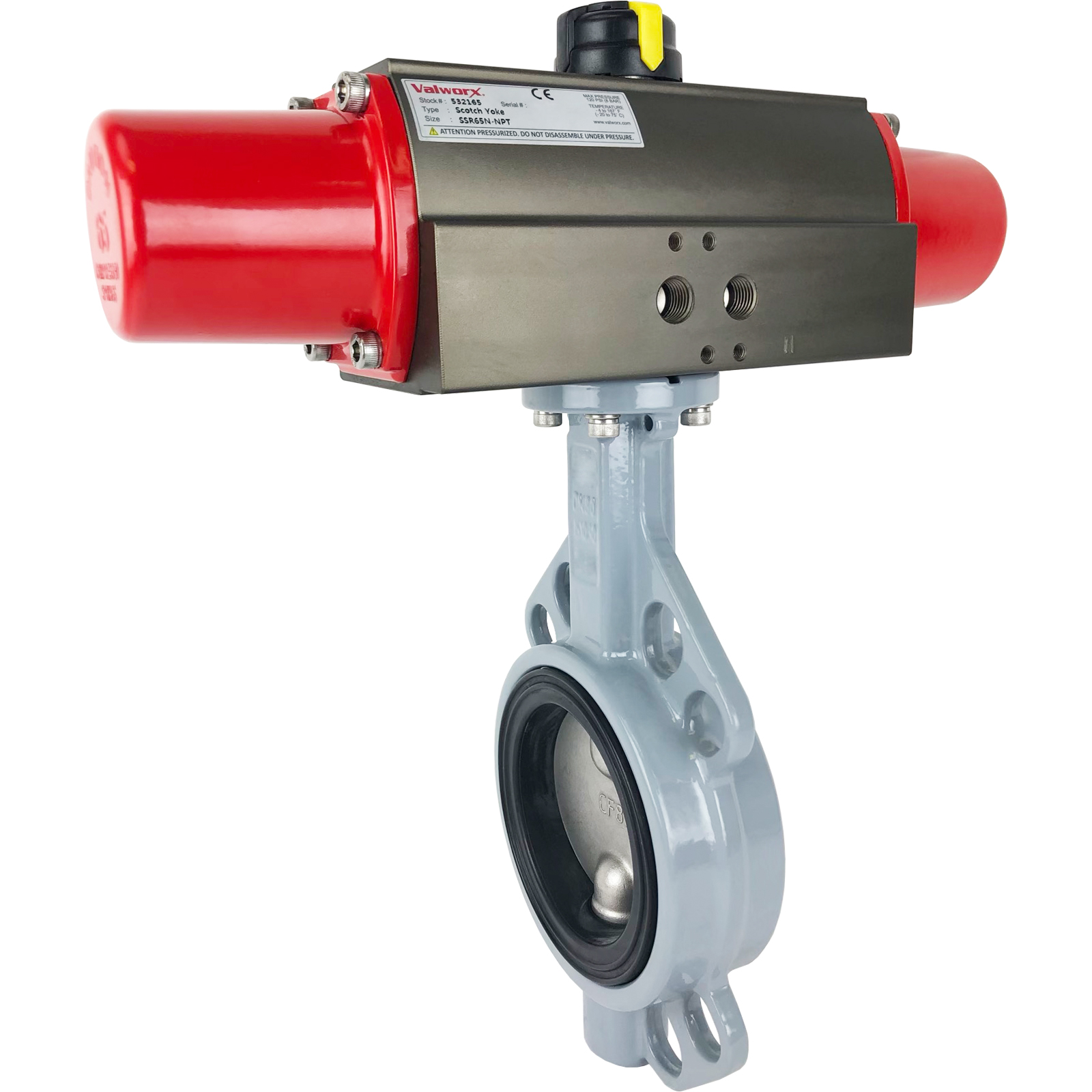 """2-1/2"""" Air Actuated Butterfly Valve, Wafer, EPDM, Scotch Yoke, Spring Return"""