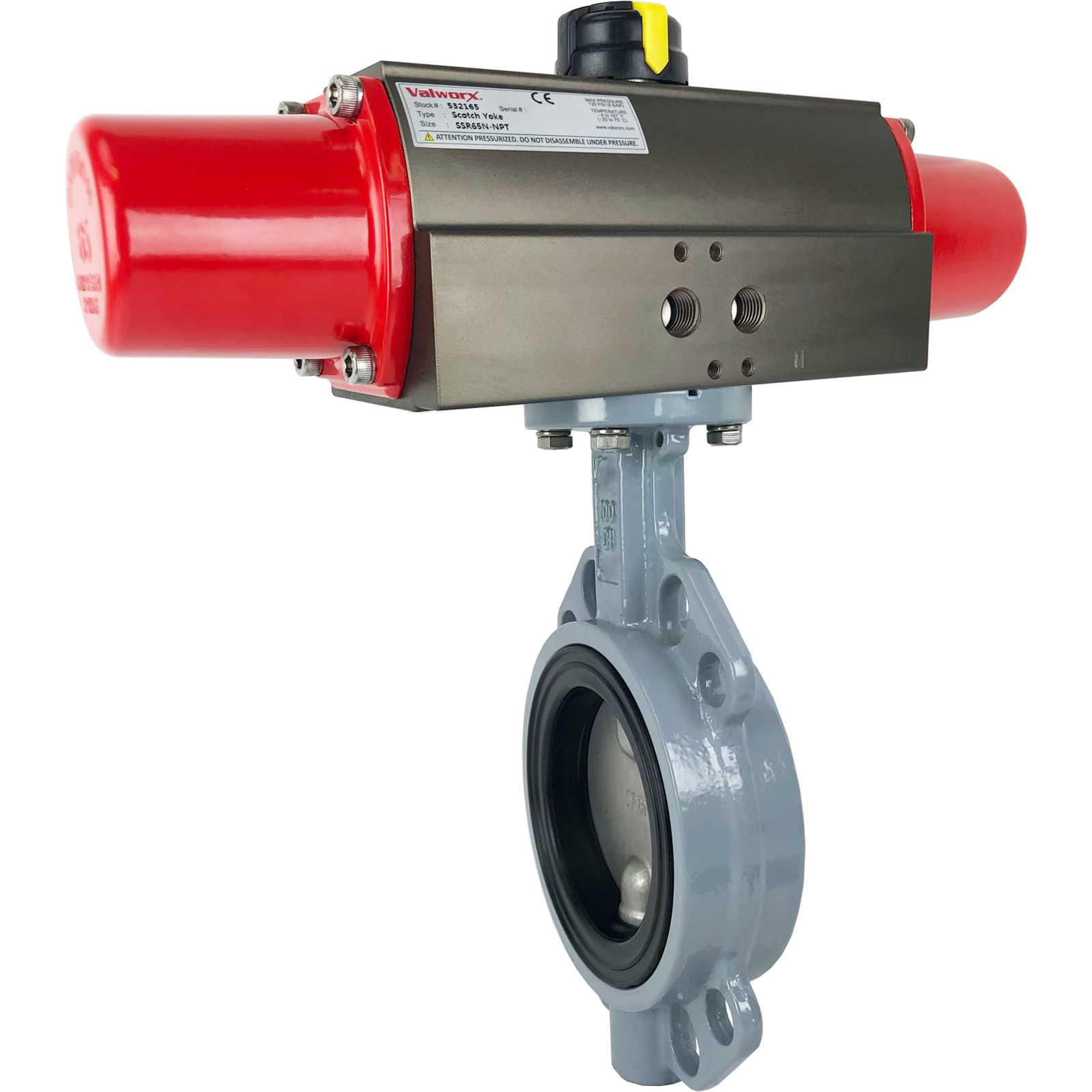 """4"""" Air Actuated Butterfly Valve, Wafer, EPDM, Scotch Yoke, Spring Return"""