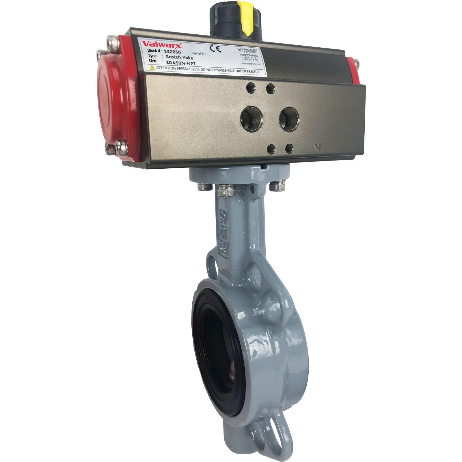 """2"""" Air Actuated Butterfly Valve, Wafer, NBR, Scotch Yoke, Double Acting"""