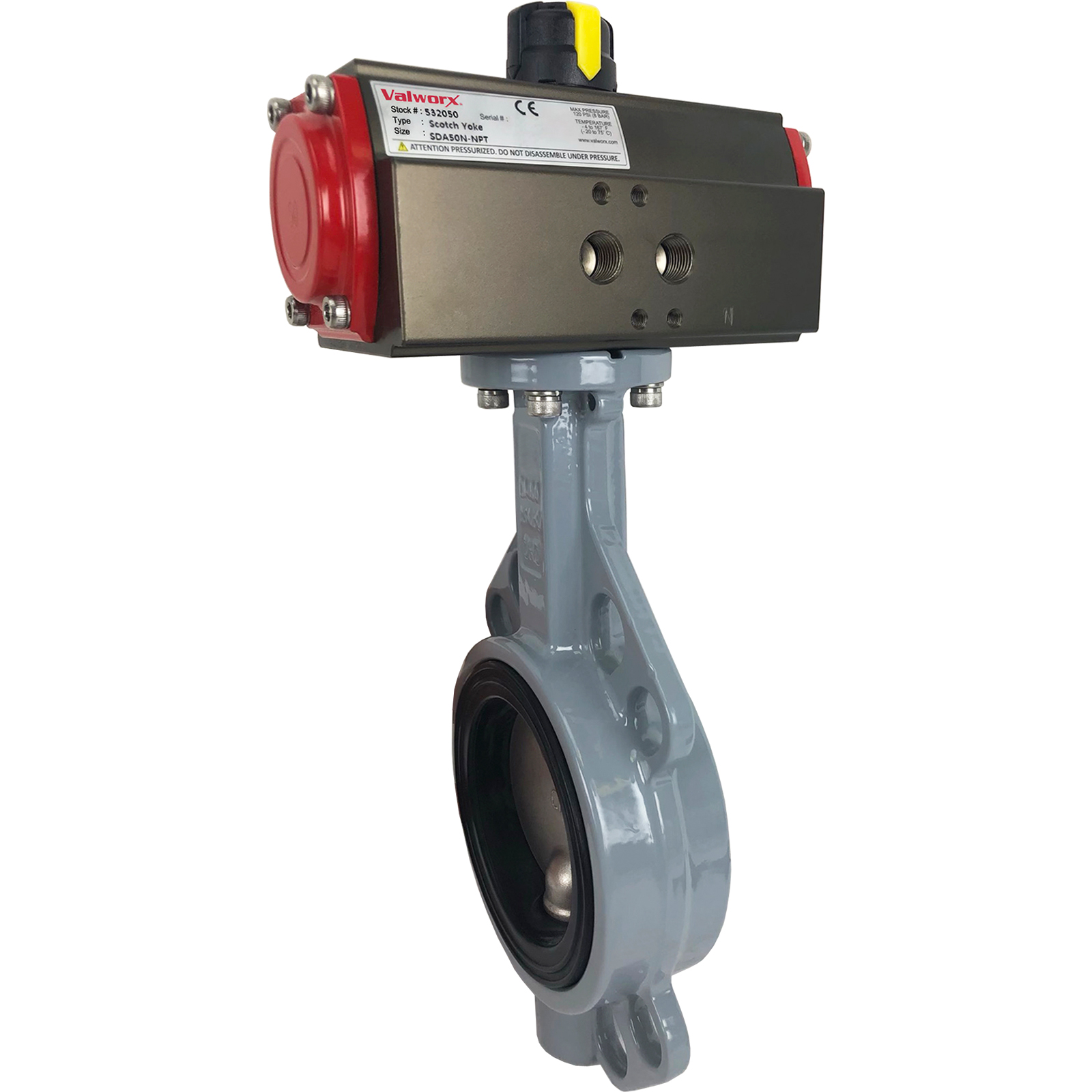 """2-1/2"""" Air Actuated Butterfly Valve, Wafer, NBR, Scotch Yoke, Double Acting"""