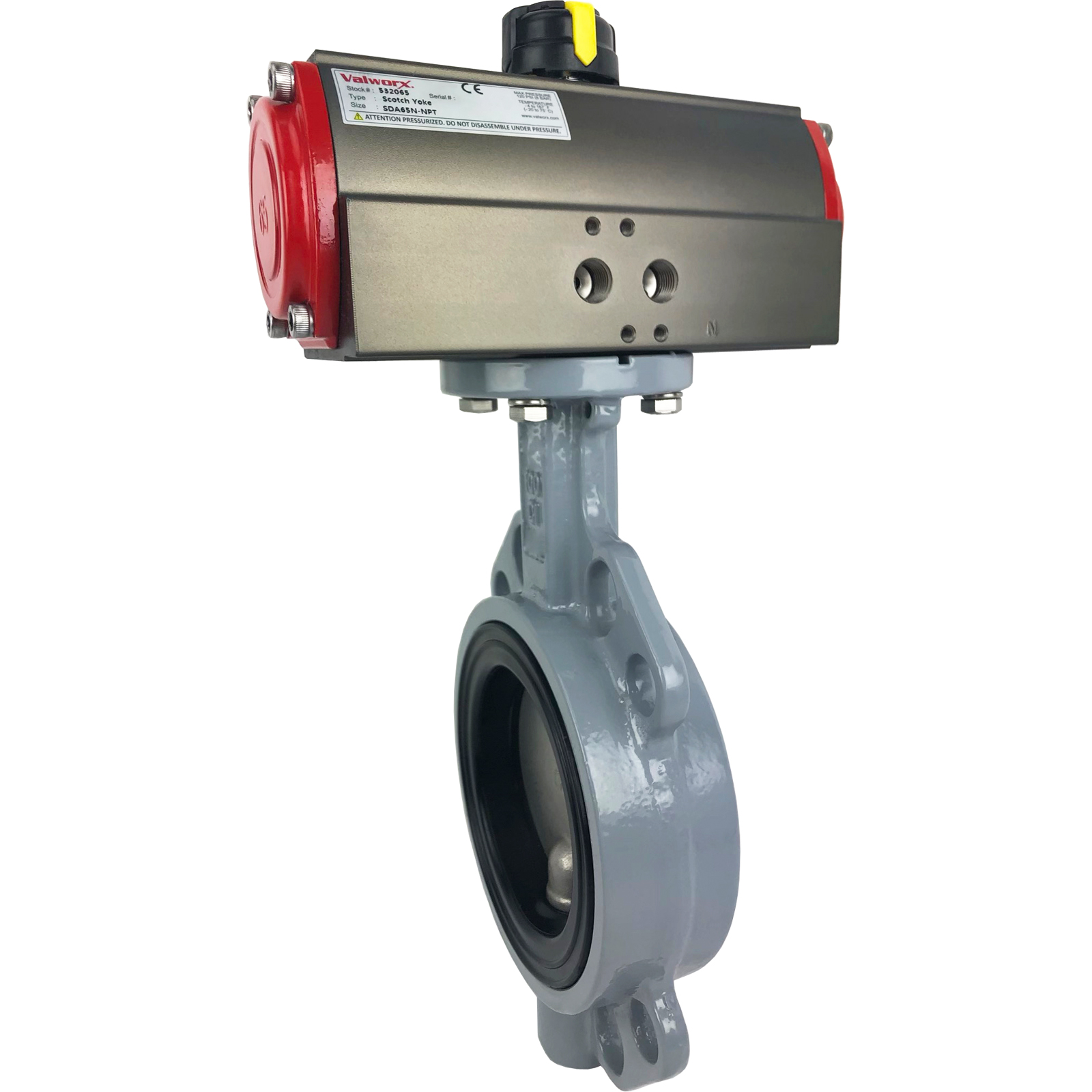 """4"""" Air Actuated Butterfly Valve, Wafer, EPDM, Scotch Yoke, Double Acting"""