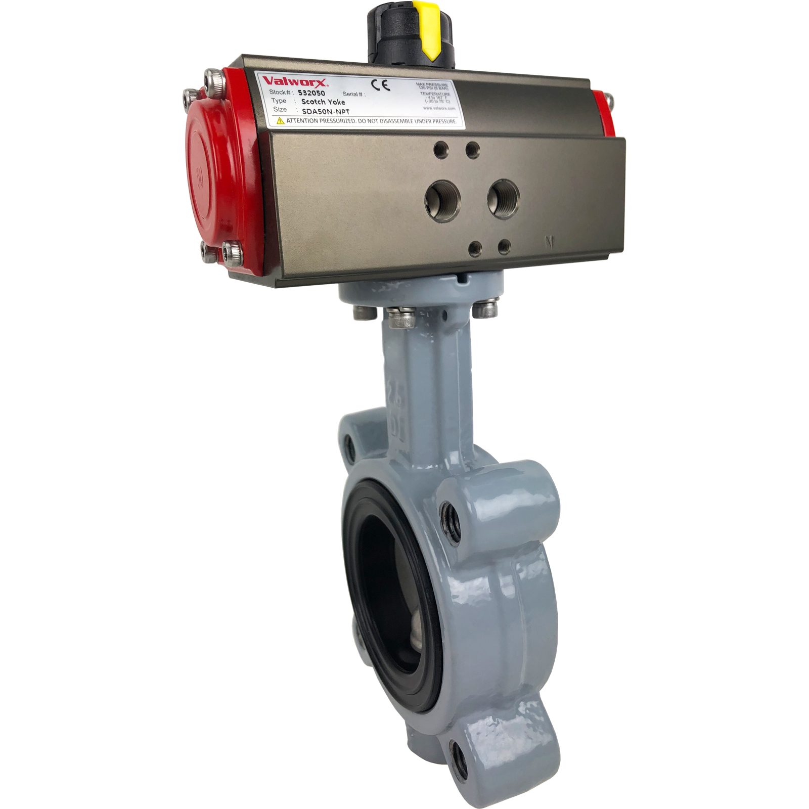 """2-1/2"""" Air Actuated Butterfly Valve, Lug, FPM, Scotch Yoke, Double Acting"""