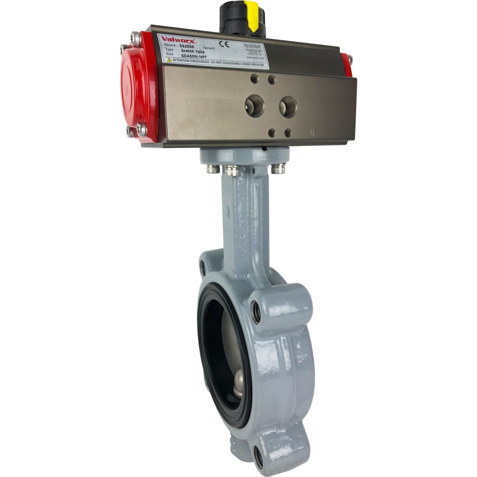 """3"""" Air Actuated Butterfly Valve, Lug, FPM, Scotch Yoke, Double Acting"""