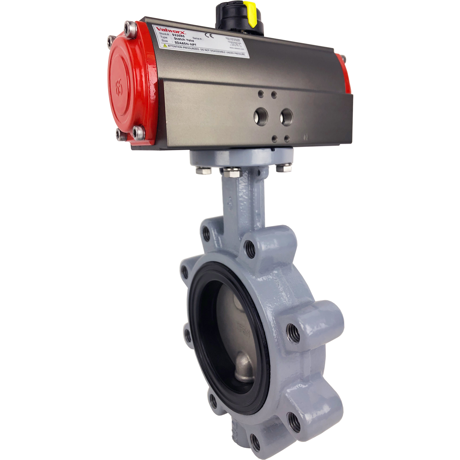 """4"""" Air Actuated Butterfly Valve, Lug, FPM, Scotch Yoke, Double Acting"""