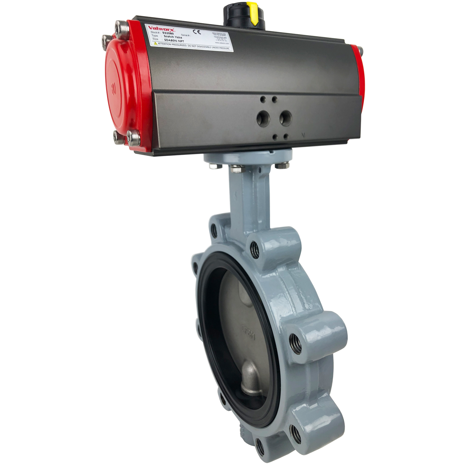 """6"""" Air Actuated Butterfly Valve, Lug, EPDM, Scotch Yoke, Double Acting"""