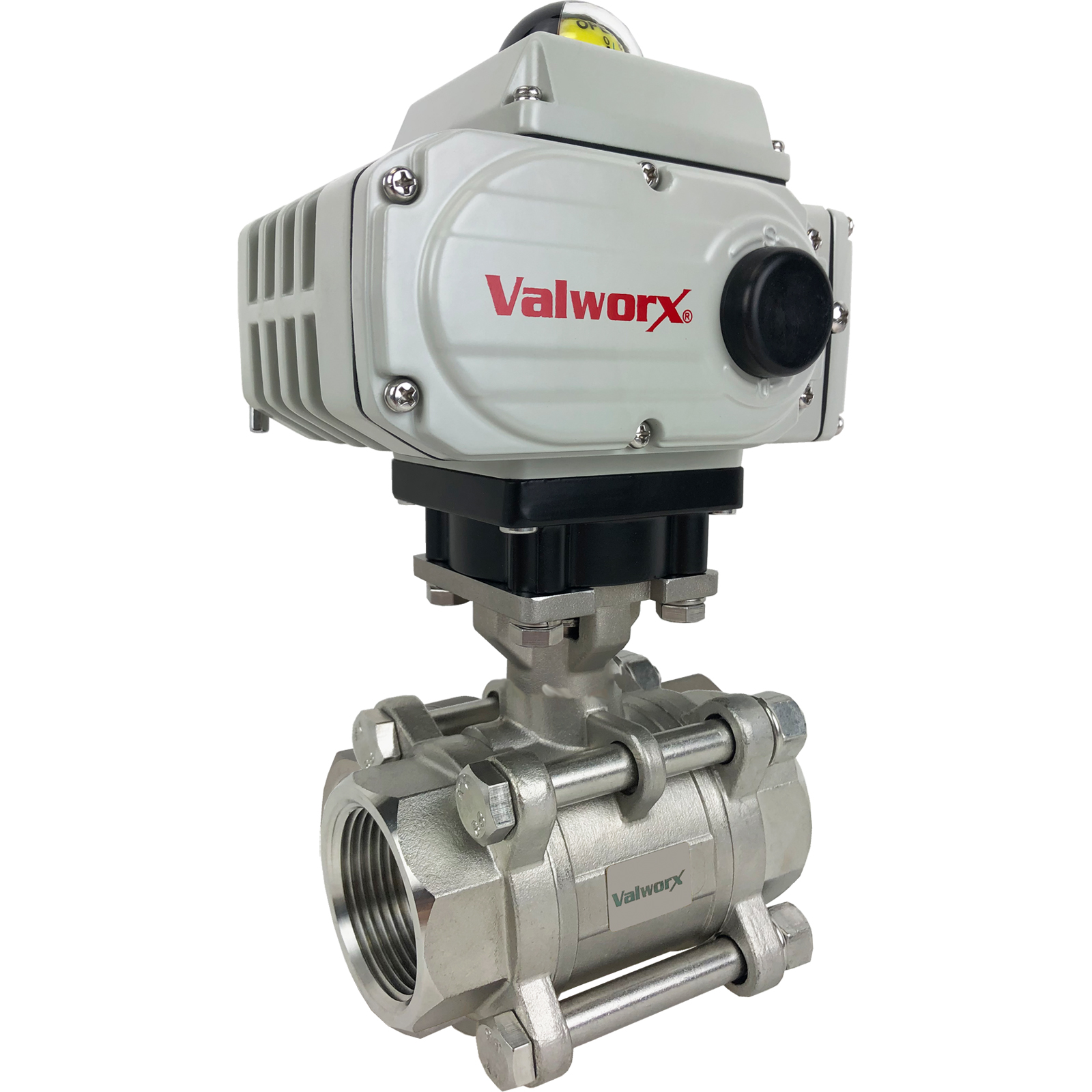 """1-1/4"""" Electric Actuated 3 pc SS Ball Valve 24 VDC"""