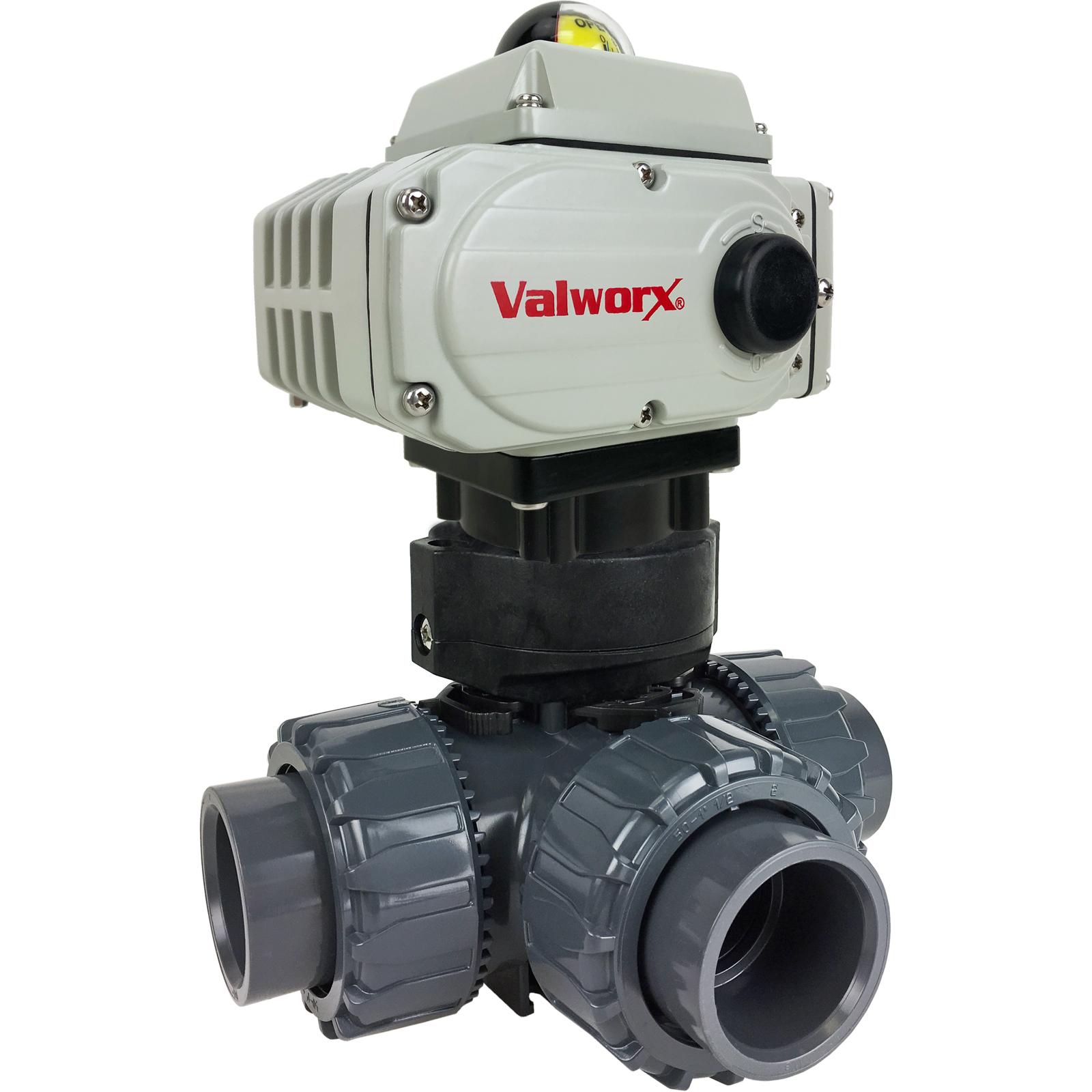 "1-1/2"" Electric 3-way PVC L-port Ball Valve PTFE/EPDM, 24 VDC"