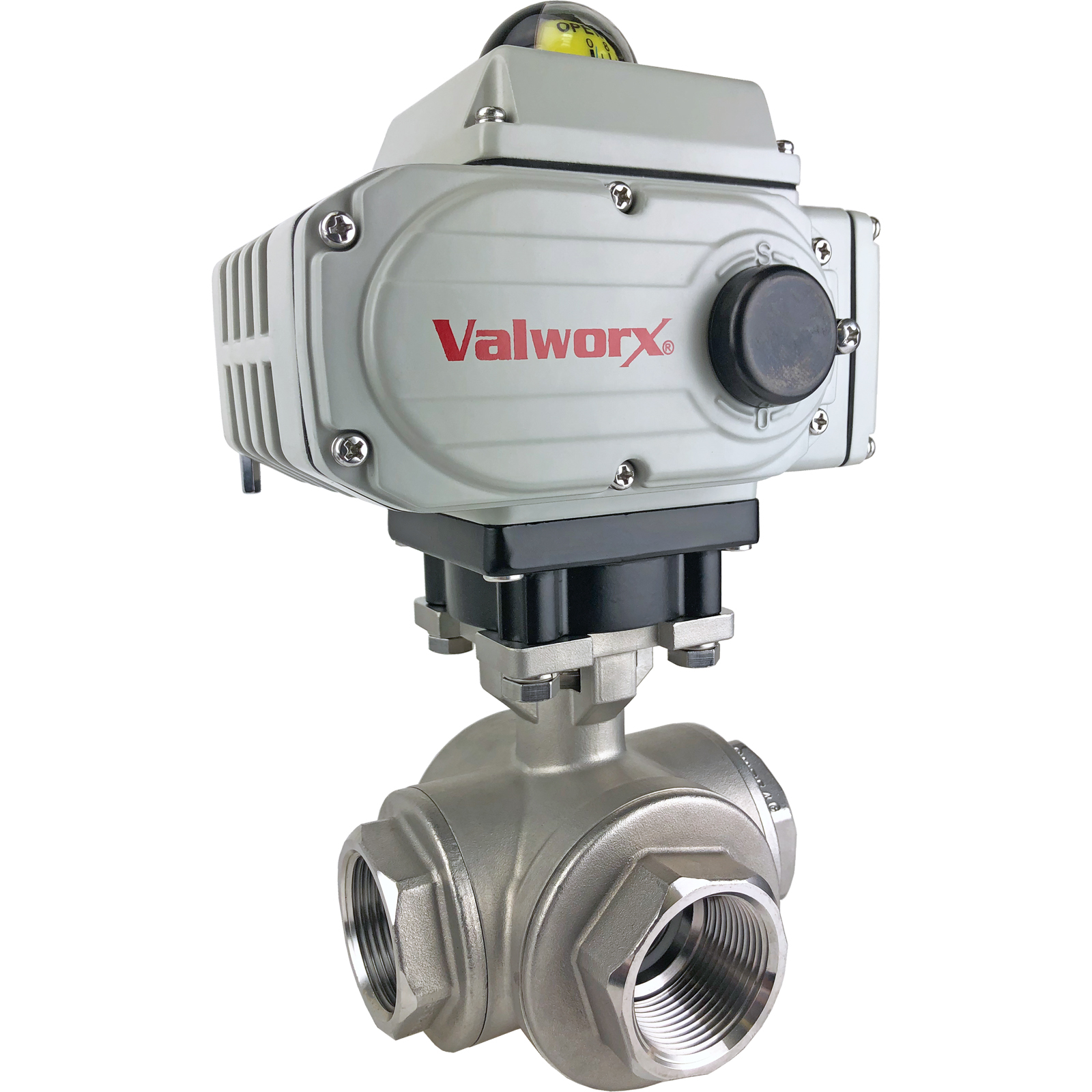"""1-1/4"""" Electric 3-Way Stainless T-Diverter Valve 110 VAC"""