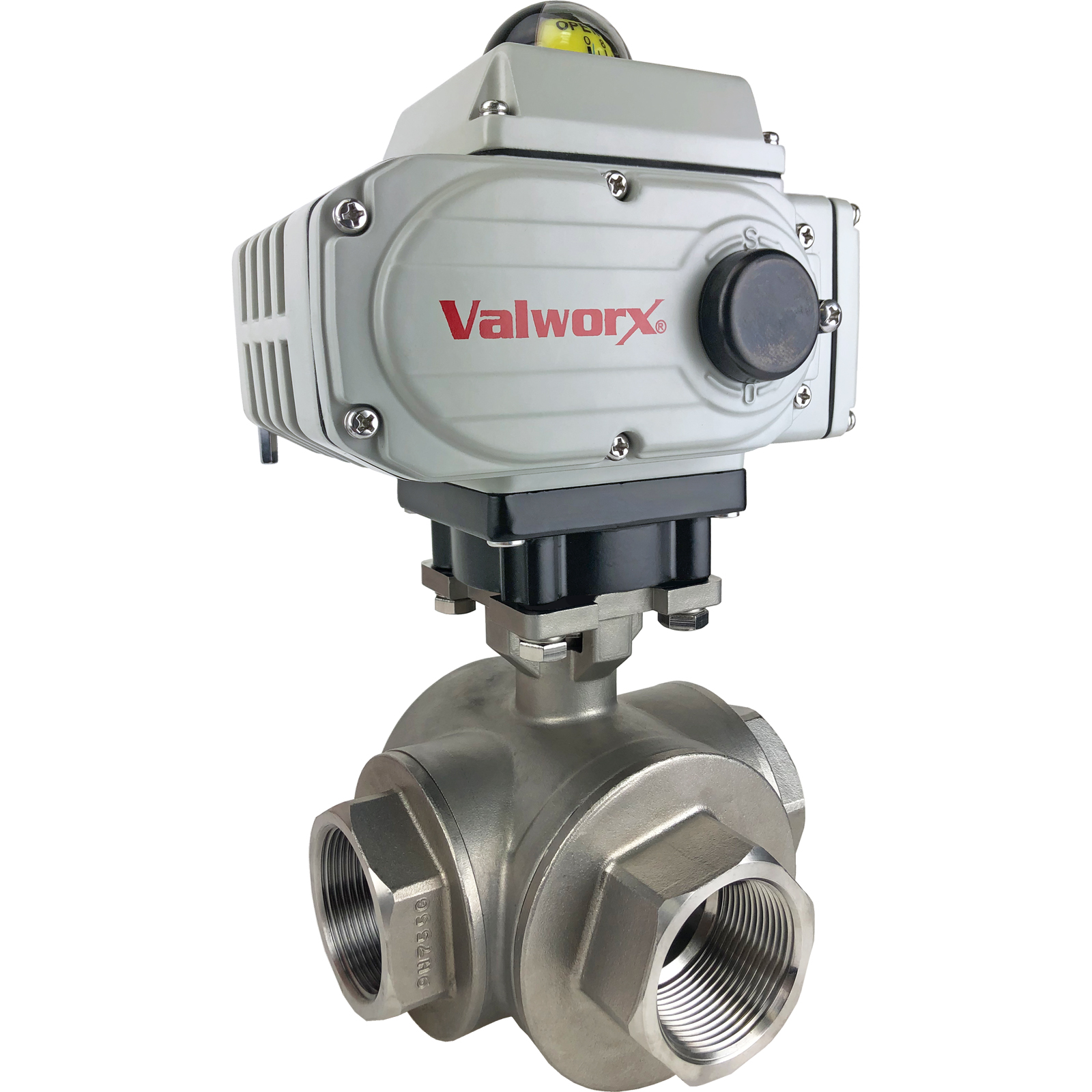 "1-1/2"" Electric 3-Way Stainless T-Diverter Valve 24 VDC"