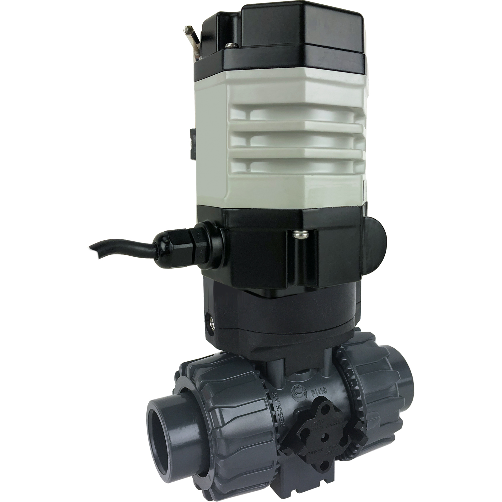 """3/4"""" Compact Electric Actuated PVC Ball Valve PTFE/EPDM, 24 VDC"""