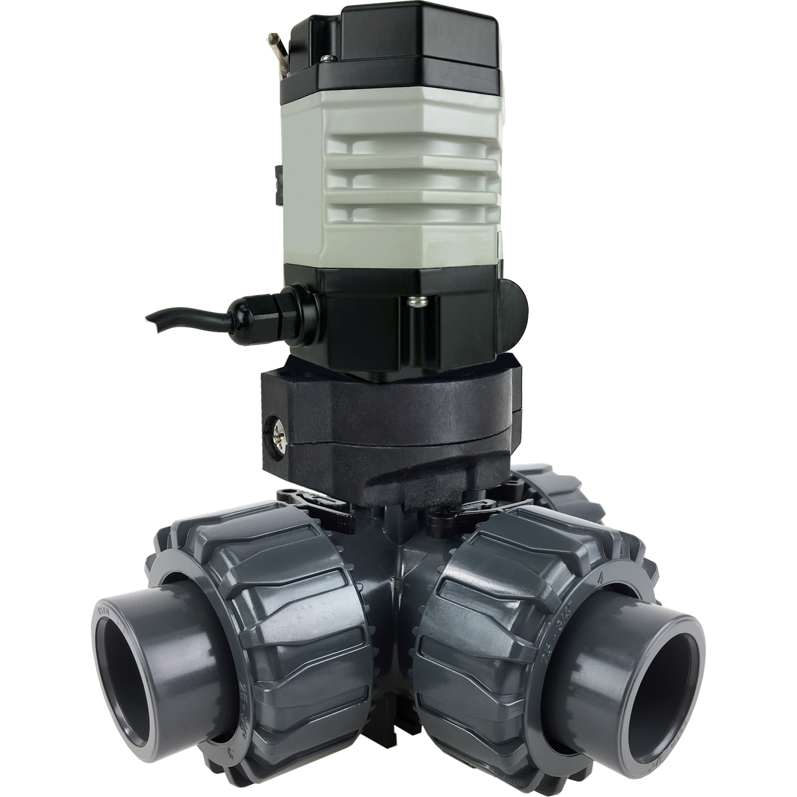 "3/4"" Compact Electric 3-way PVC L-port Ball Valve PTFE/EPDM, 24 VDC"