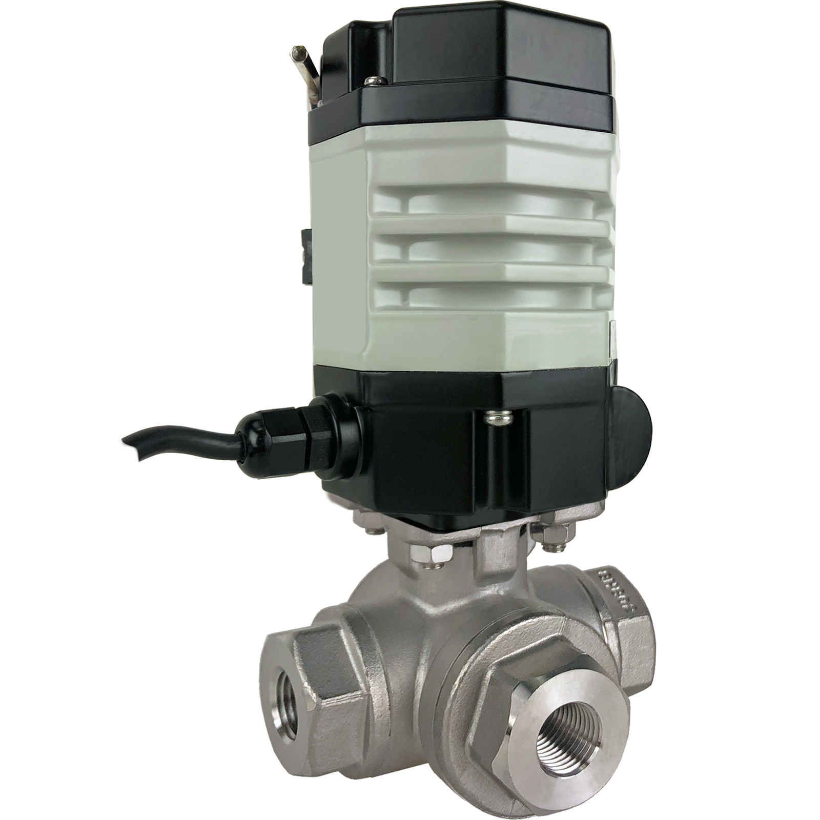 """1/4"""" Compact Electric 3-Way Stainless L-Diverter Valve 110 VAC"""