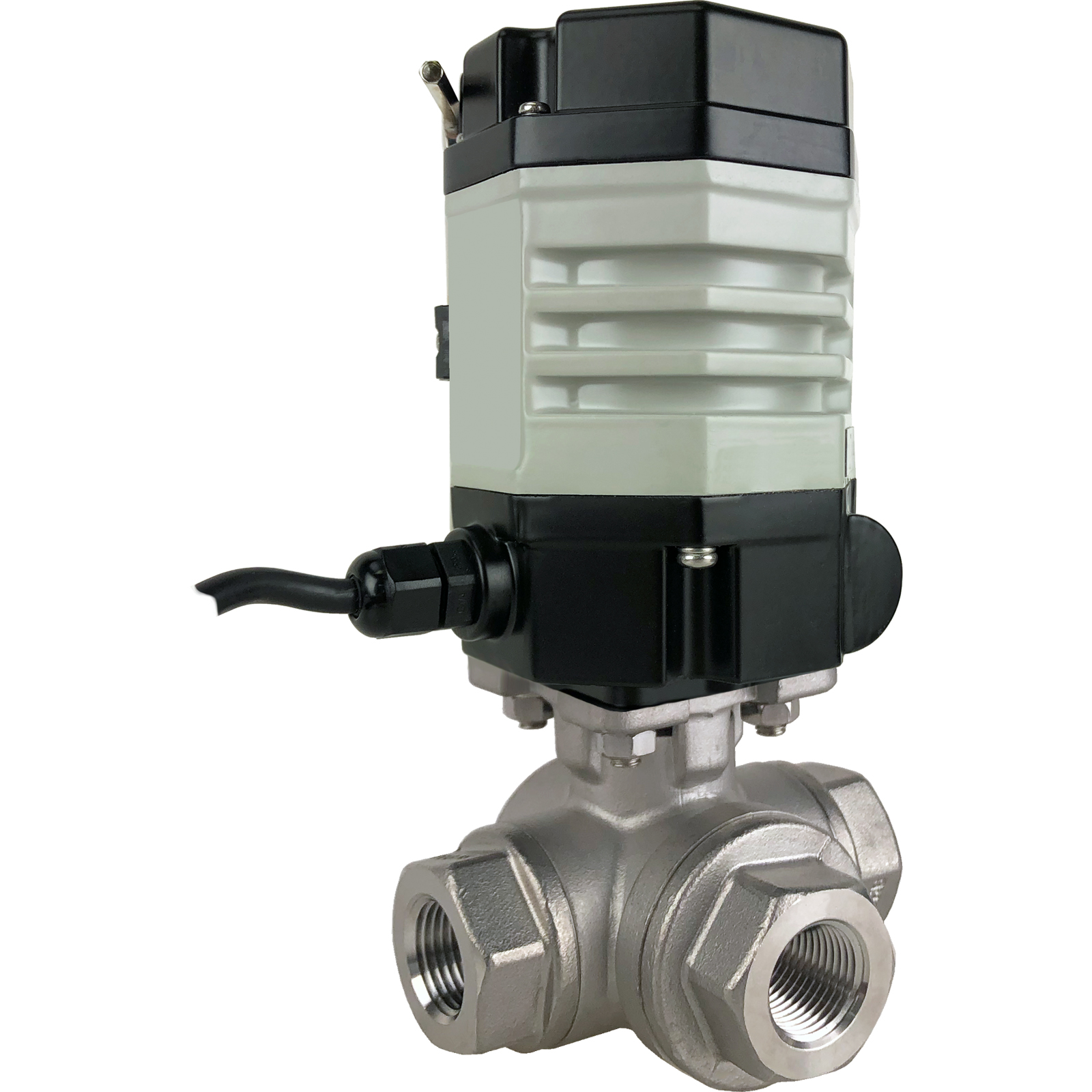"""3/8"""" Compact Electric 3-Way Stainless T-Diverter Valve 24 VDC"""