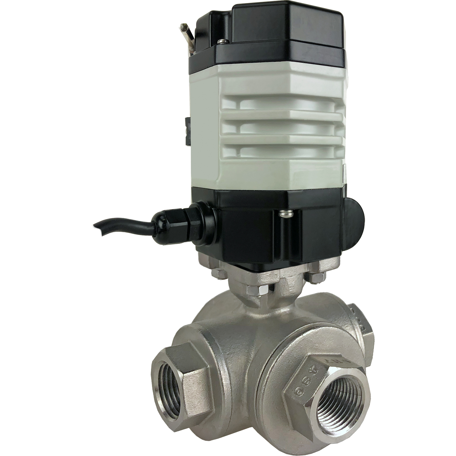 """1/2"""" Compact Electric 3-Way Stainless L-Diverter Valve 24 VDC"""