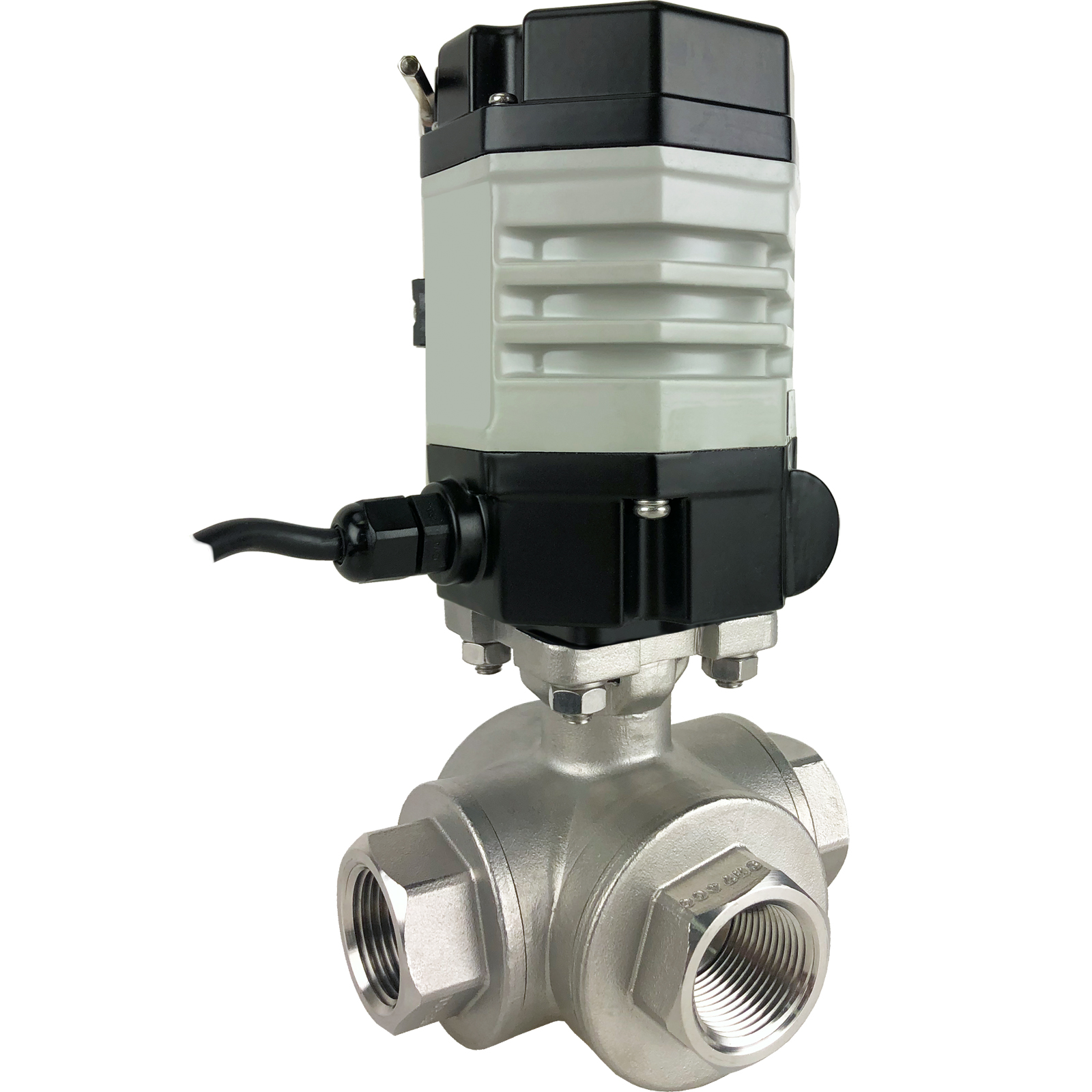 "3/4"" Compact Electric 3-Way Stainless L-Diverter Valve 24 VAC"