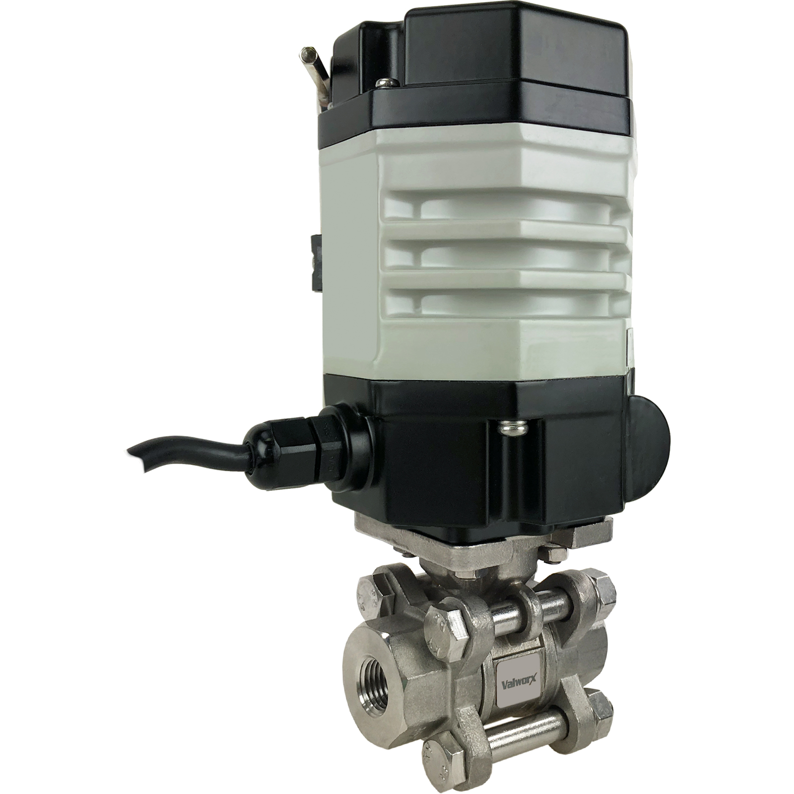"""1/4"""" Compact Electric Actuated 3-Piece Stainless Ball Valve 24 VDC"""