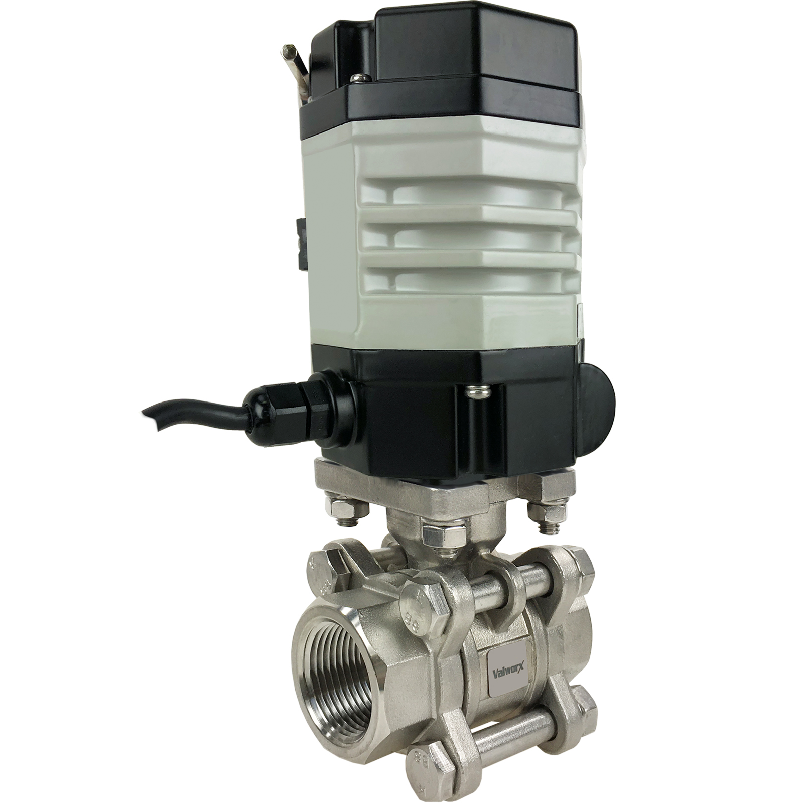 """3/4"""" Compact Electric Actuated 3-Piece Stainless Ball Valve 24 VAC"""