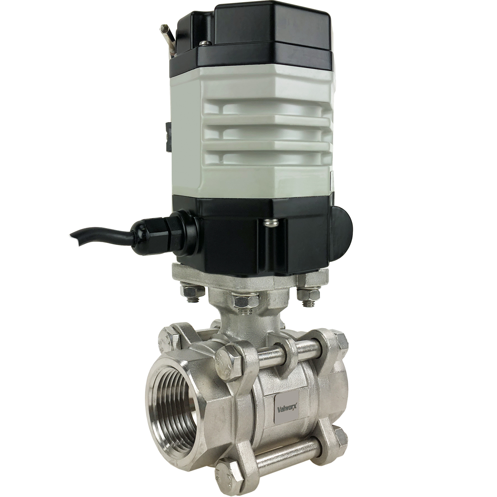 """1"""" Compact Electric Actuated 3-Piece Stainless Ball Valve 24 VAC"""