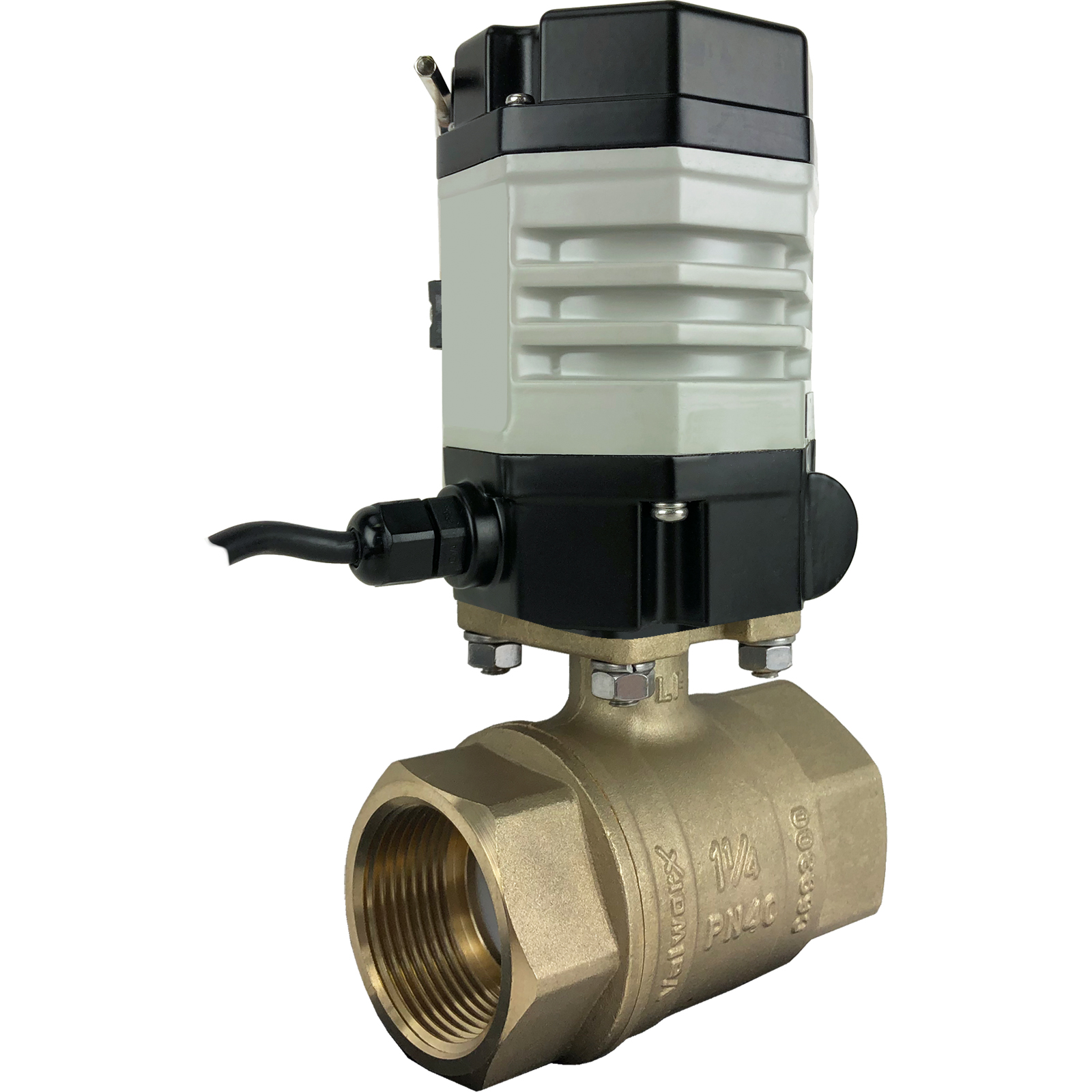 """1-1/4"""" Compact Electric Actuated Brass Ball Valve 24 VAC"""