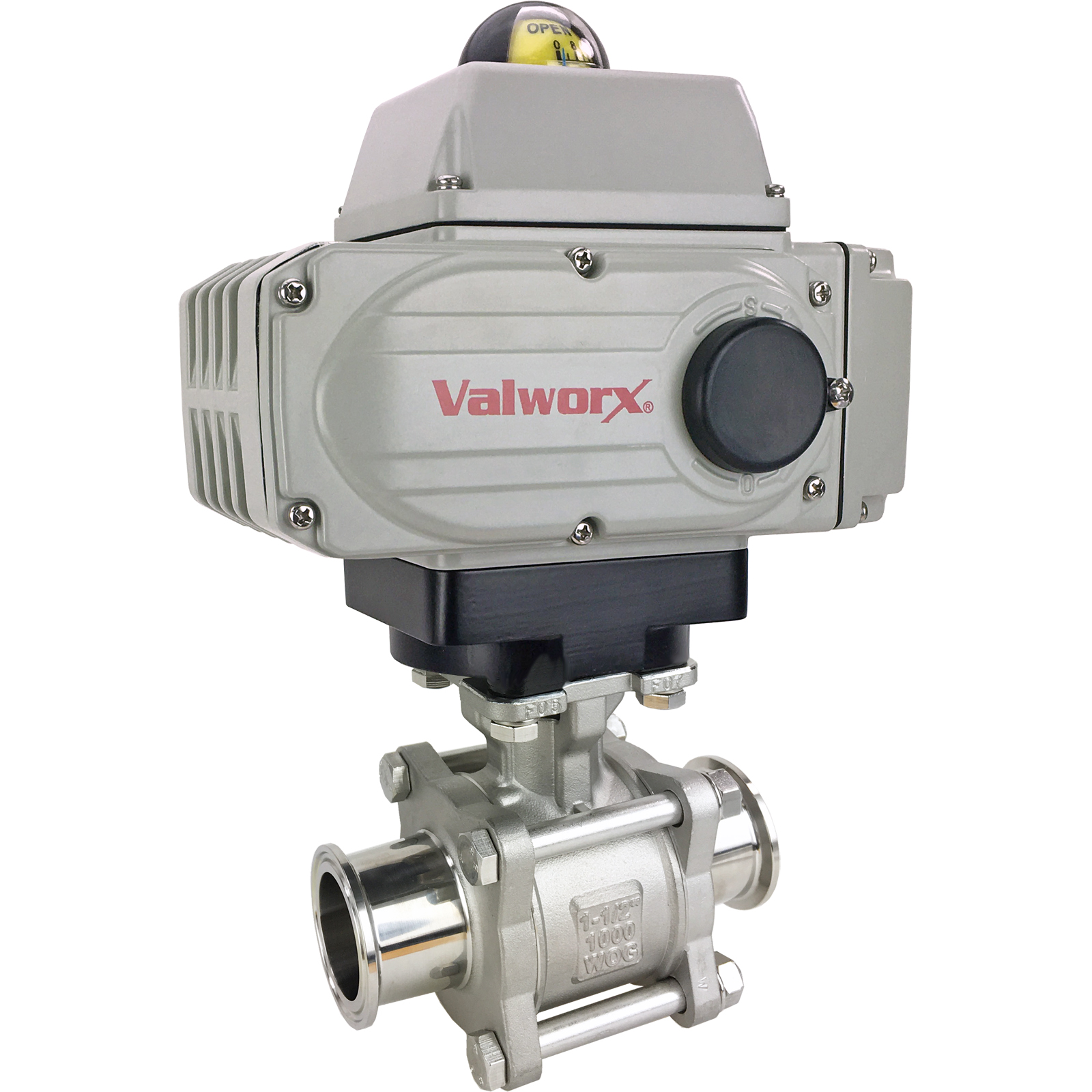 "1-1/2"" Sanitary Ball Valve, 110 VAC EPS-Positioner, Tri-Clamp"
