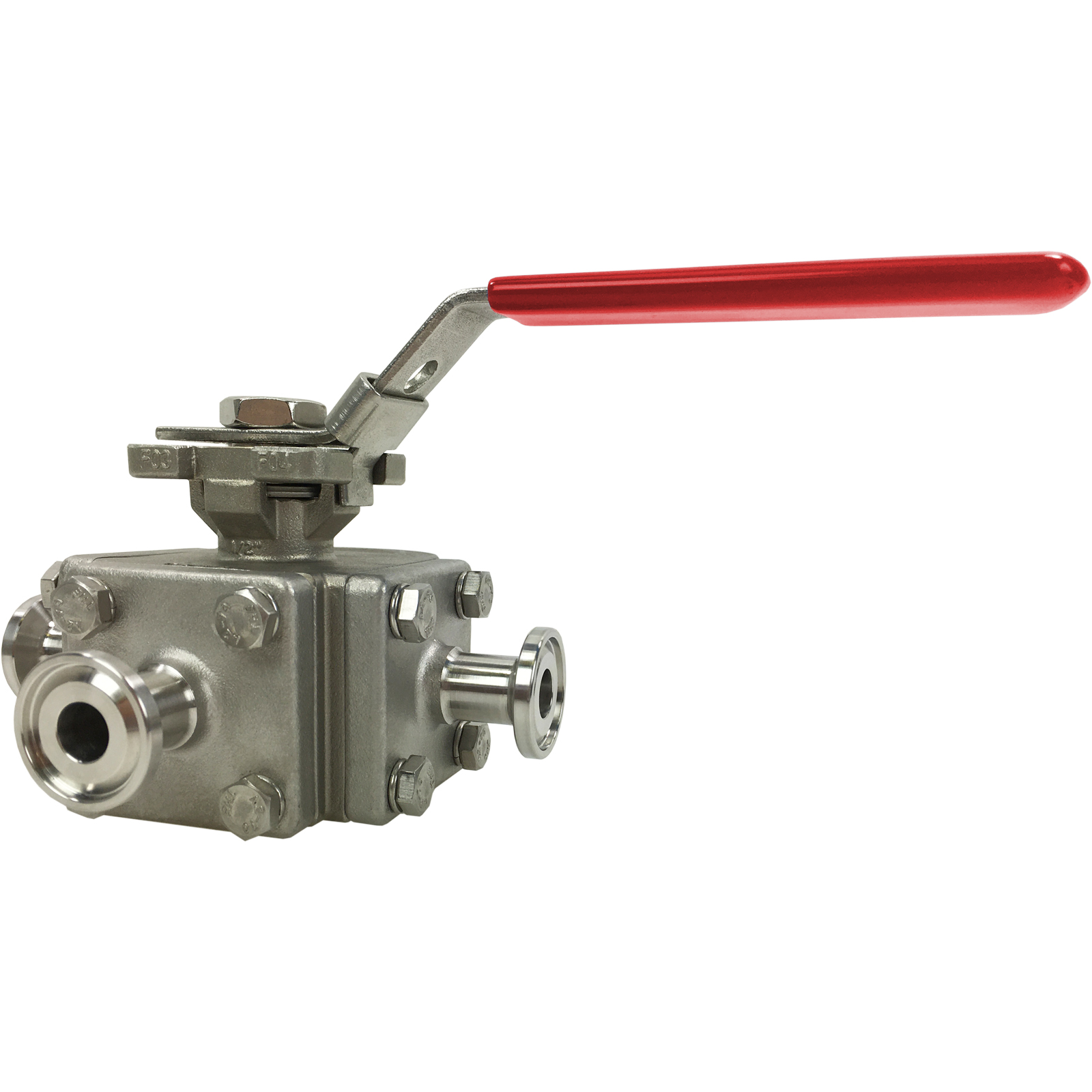 "1/2"" Sanitary 3-Way Ball Valve, L-Port, Direct Mount, Tri-Clamp"