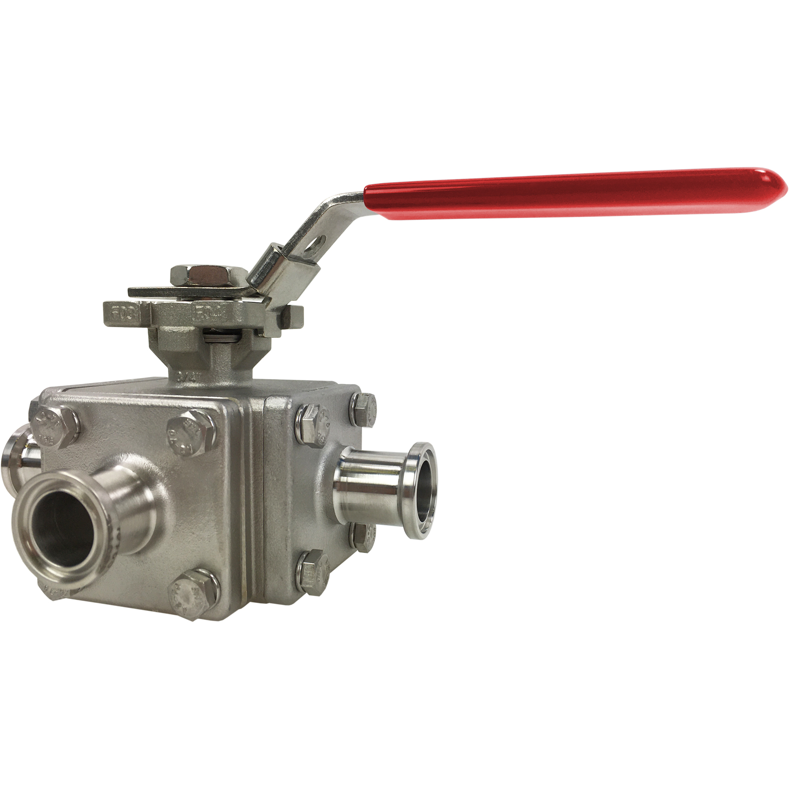 "3/4"" Sanitary 3-Way Ball Valve, T-Port, Direct Mount, Tri-Clamp"