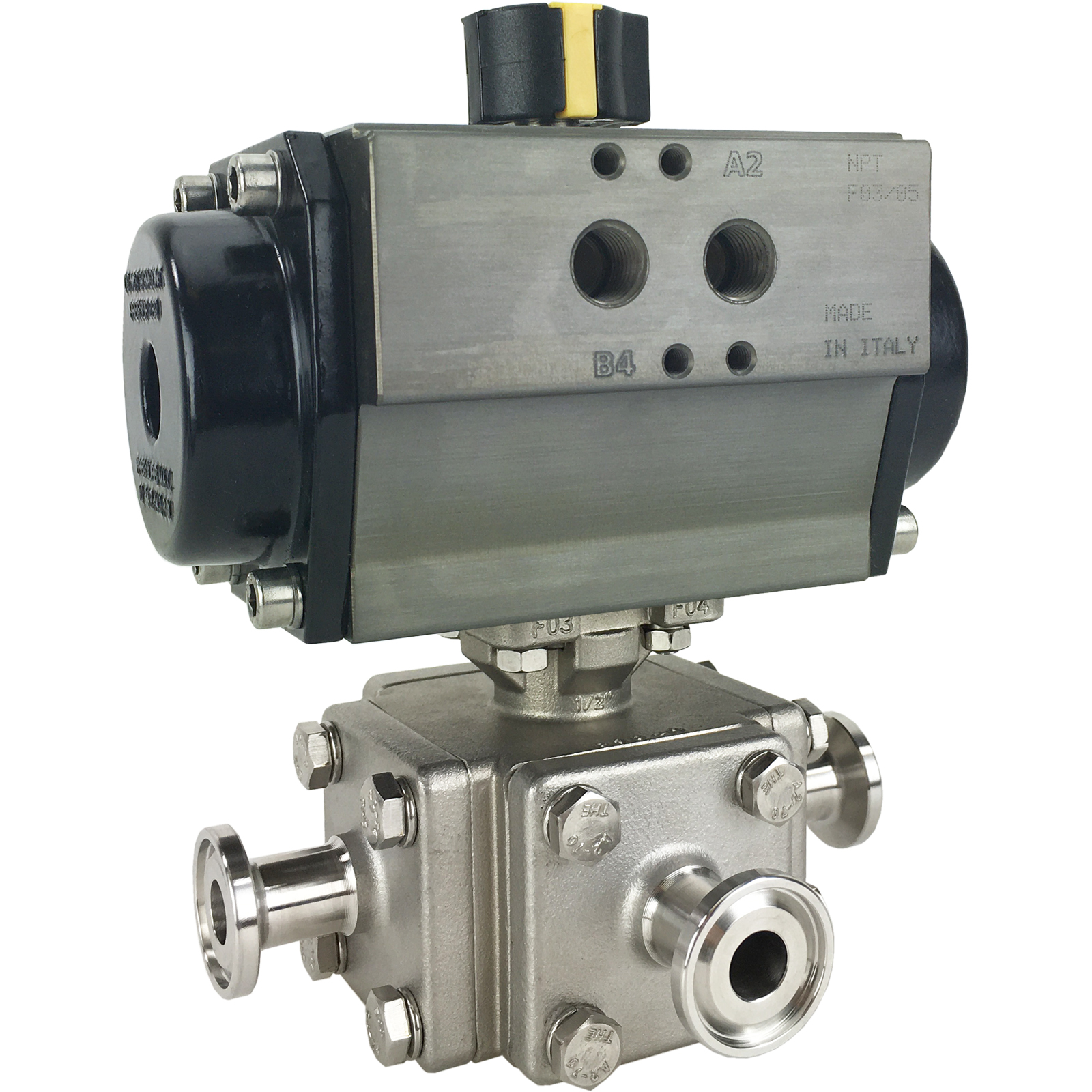 """1/2"""" Sanitary Ball Valve, T-Port, Double Acting Rack & Pinion, Tri-Clamp"""
