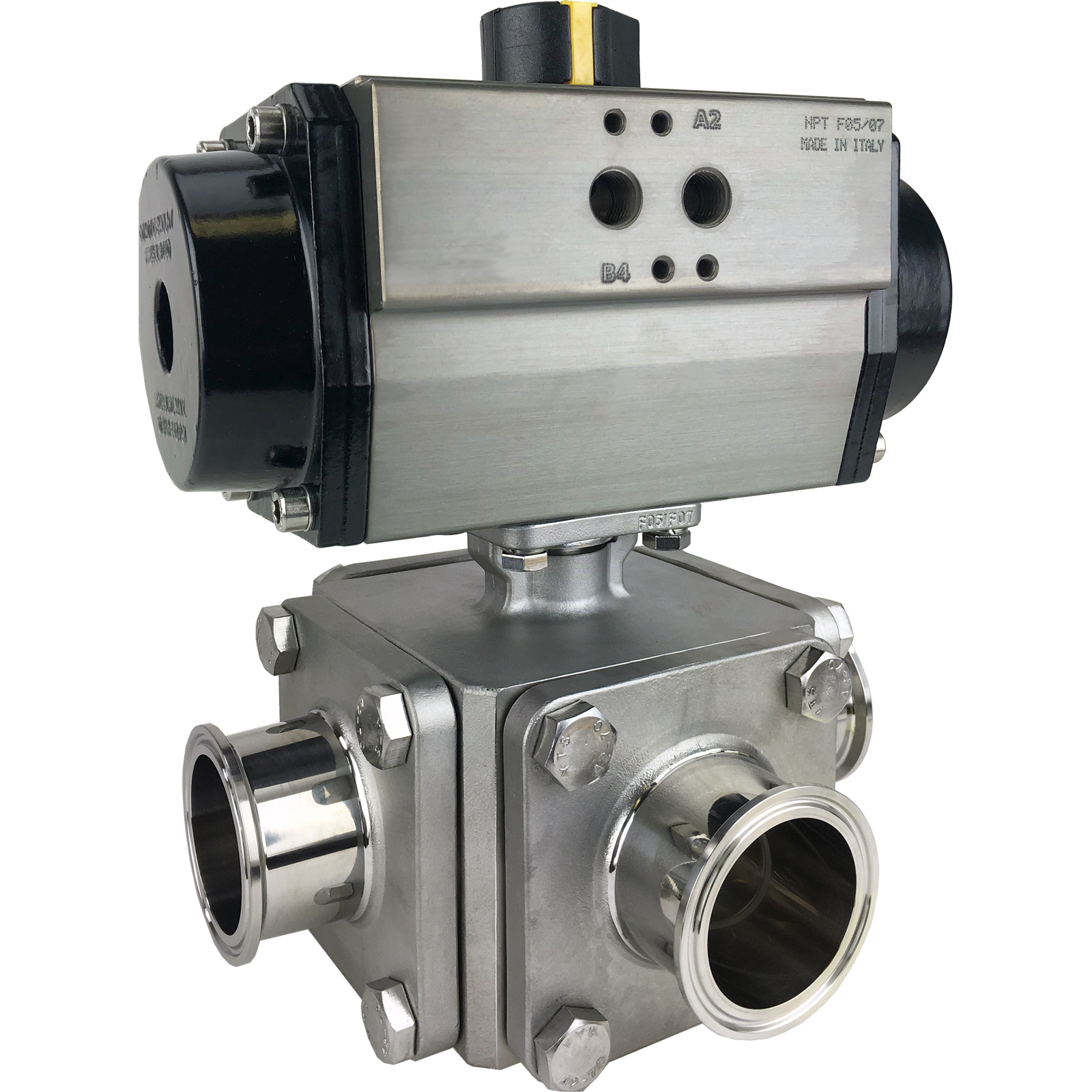 """2"""" Sanitary Ball Valve, T-Port, Double Acting Rack & Pinion, Tri-Clamp"""