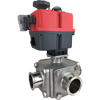 Electric Actuated Sanitary 3-Way Ball Valves - Multi-Voltage