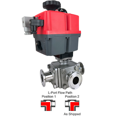 "1"" Sanitary Ball Valve, L-Port, 24-240V, Tri-Clamp"