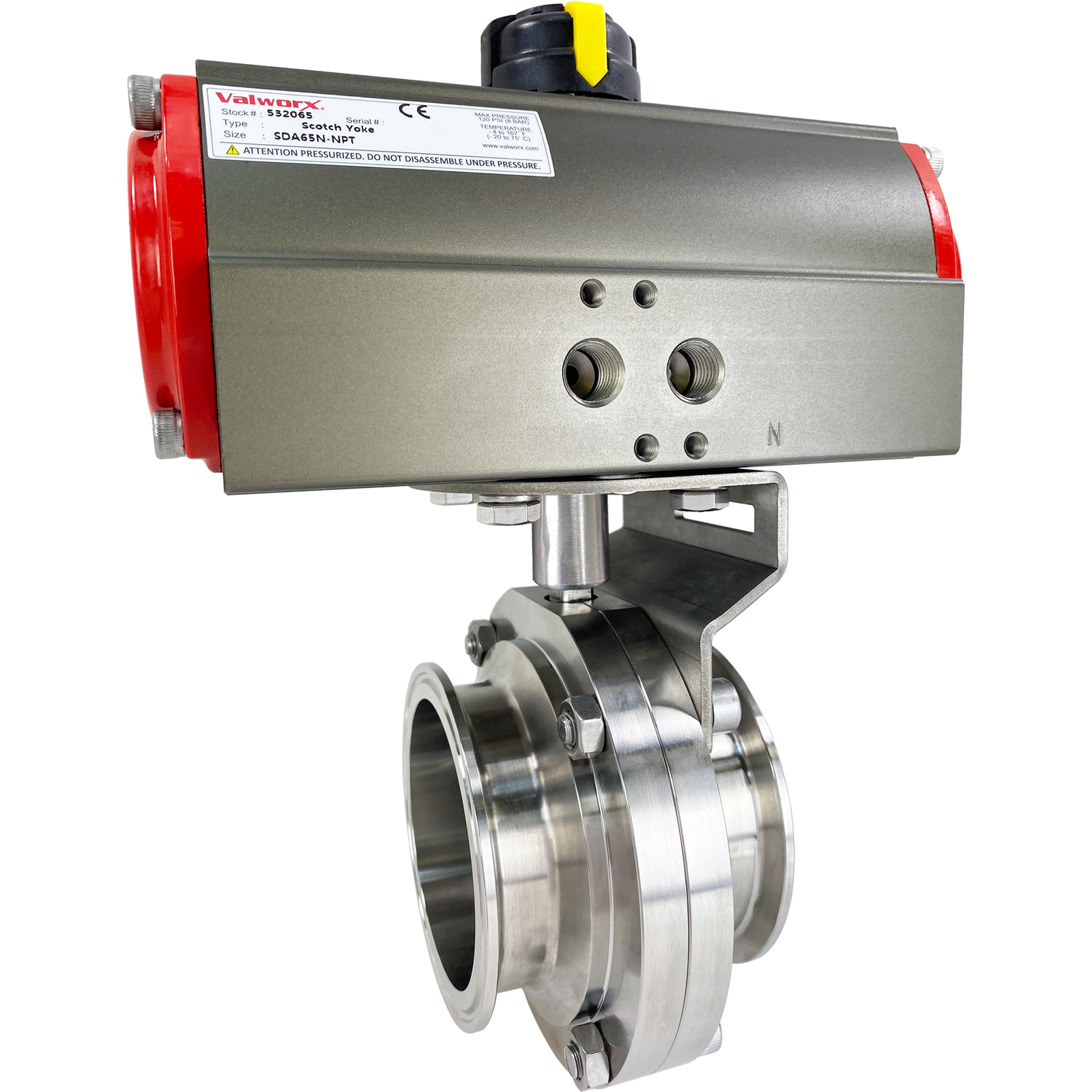 """3"""" Sanitary Butterfly Valve, Double Acting Scotch Yoke, Tri-Clamp"""