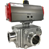 Air Actuated Sanitary 3-Way Ball Valves- Scotch Yoke