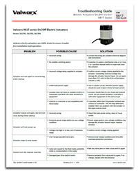 Troubleshooting - 5617 Series On/Off Electric Actuators