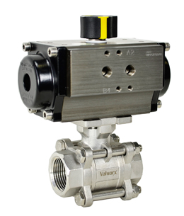 """1"""" Air Actuated 3-pc Stainless Ball Valve - Double Acting"""